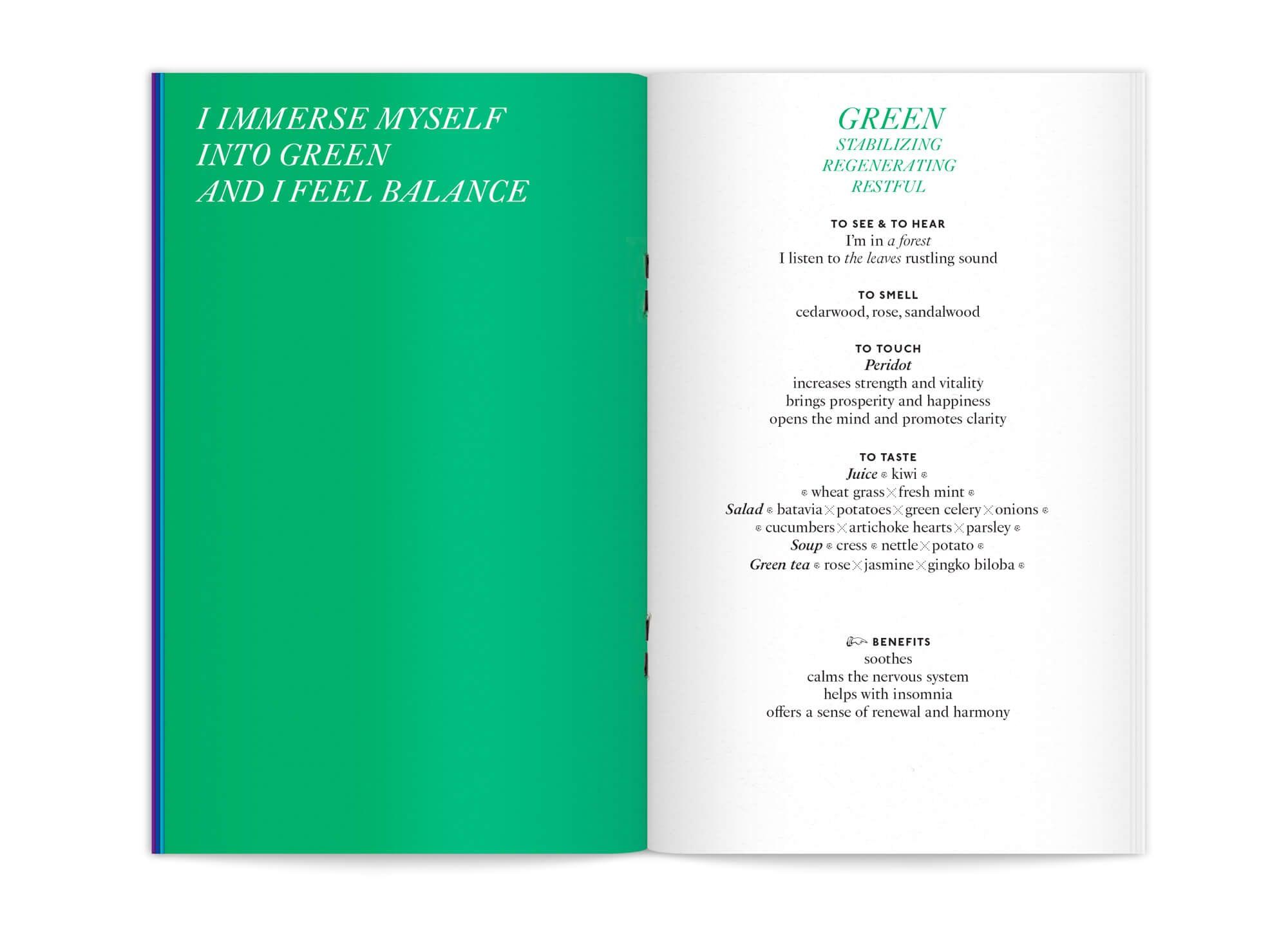 """double page centrale de l'édition """"color benefits"""" pour mycocoon couleur verte, par le studio de graphisme IchetKar"""