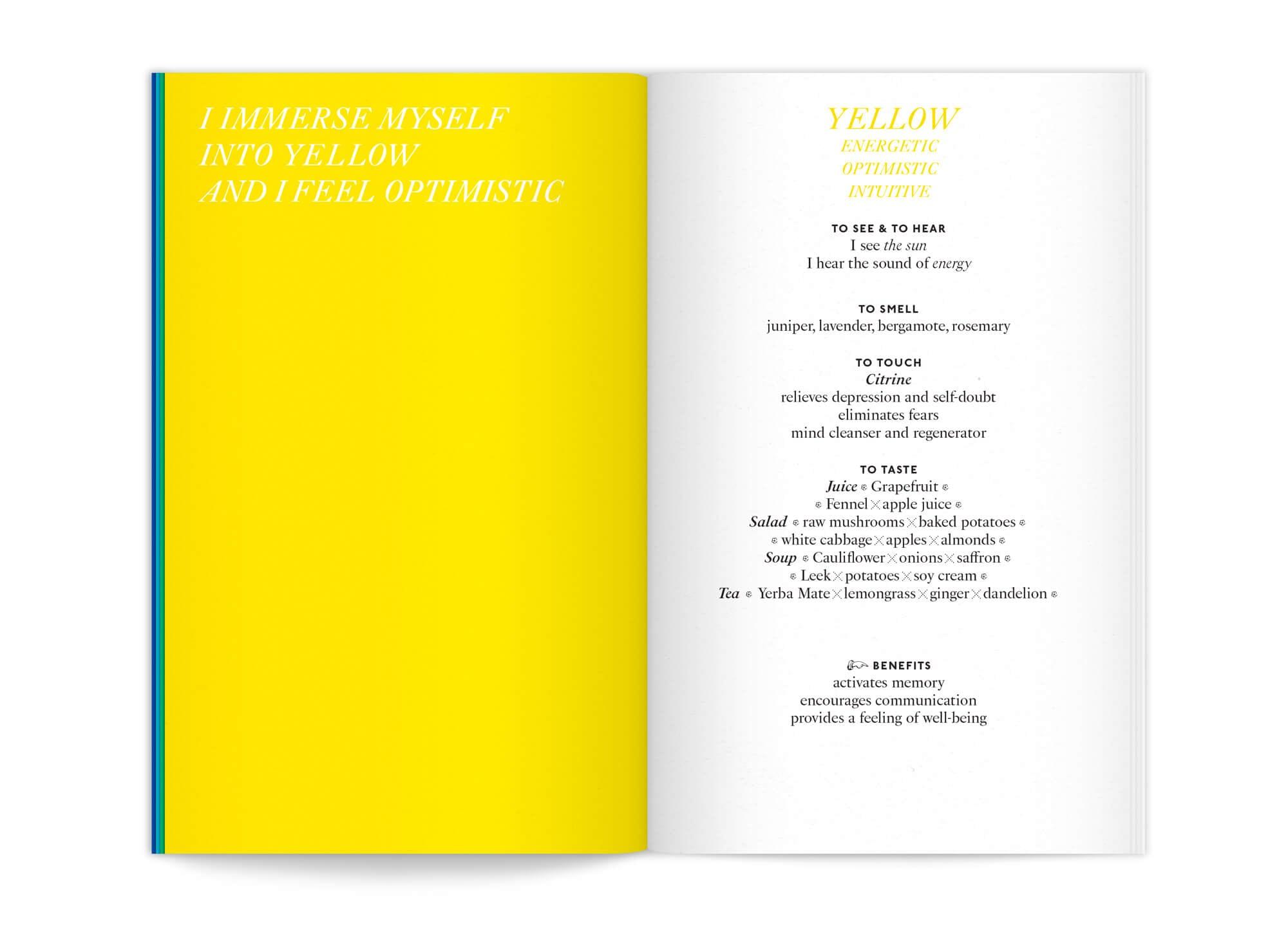 """double page Jaune de l'édition """"color benefits"""" pour mycocoon par le bureau de graphisme IchetKar"""