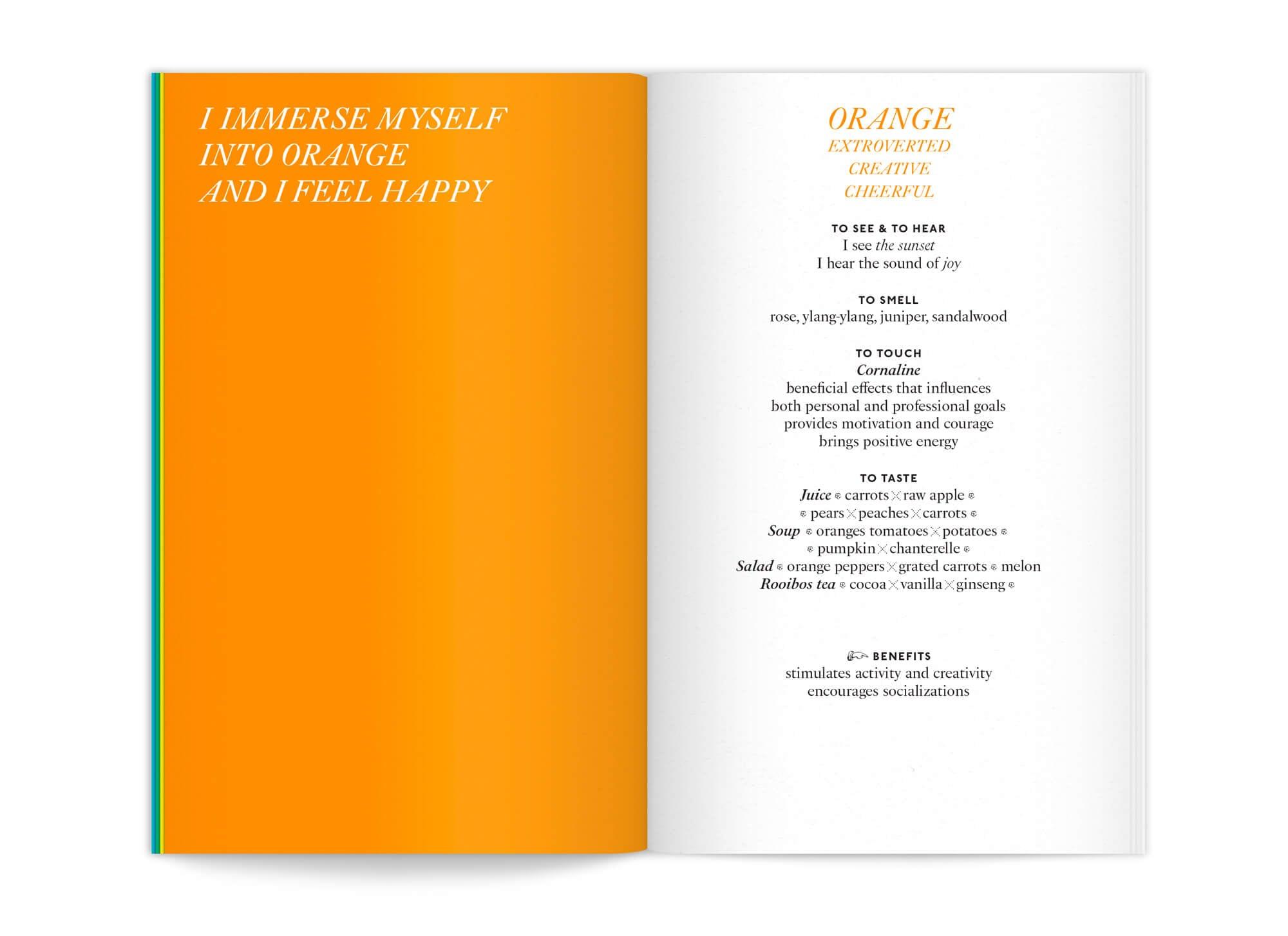 """Le bureau de graphisme IchetKar met en page cette édition """"color benefits"""" pour mycocoon, la page Orange vif représente la joie"""