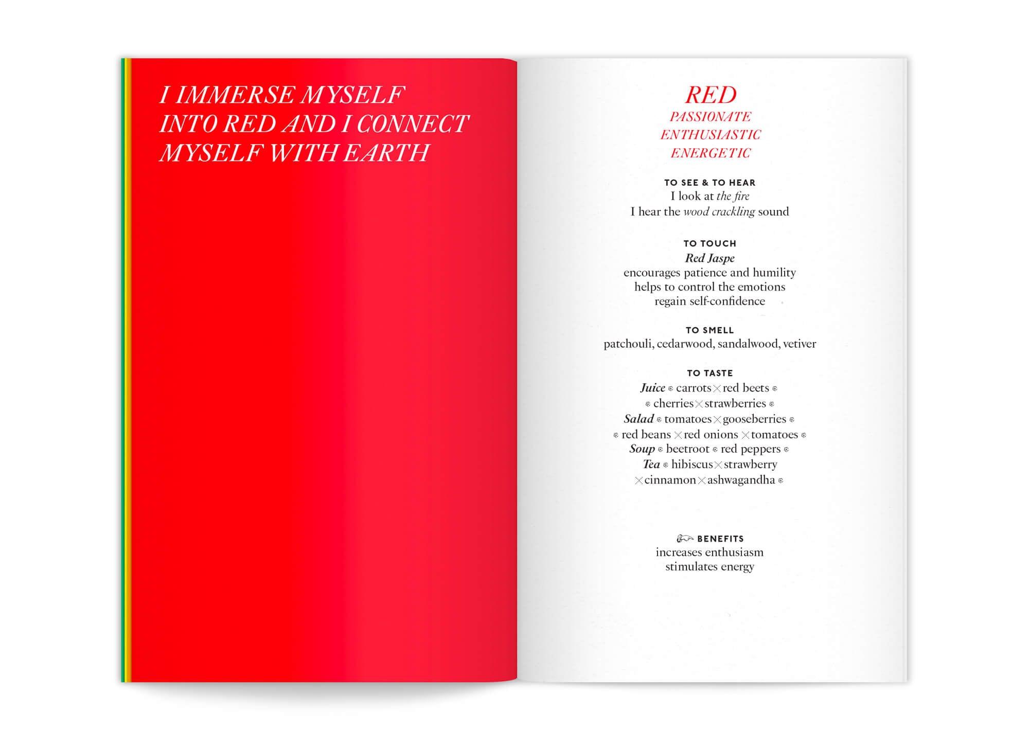 Double page avec un aplat rouge, du livret My cocoon color benefit dessiné par ichetkar