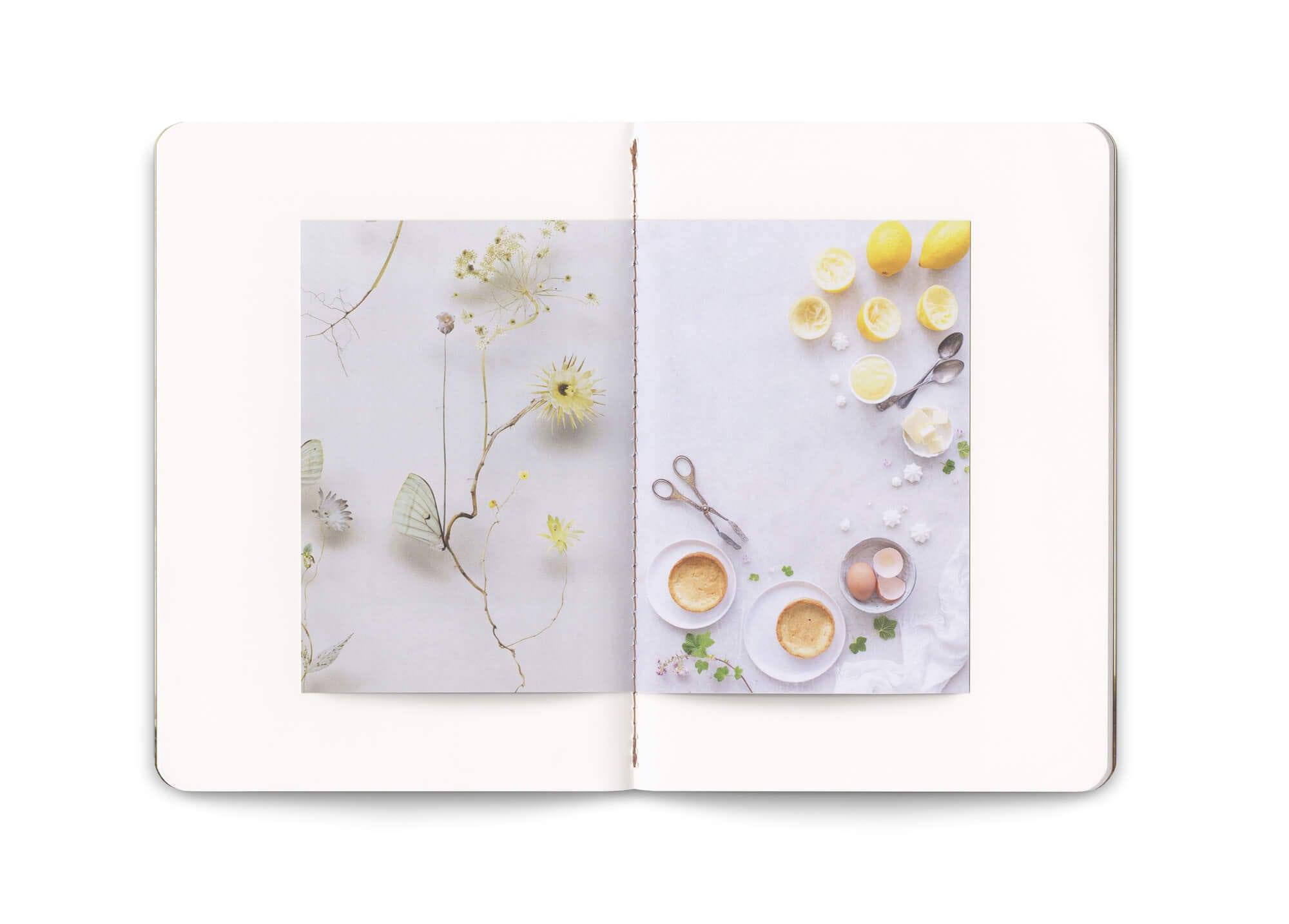 belle double page avec reliure cousue, du carnet réalisé par le studio Ich&kar