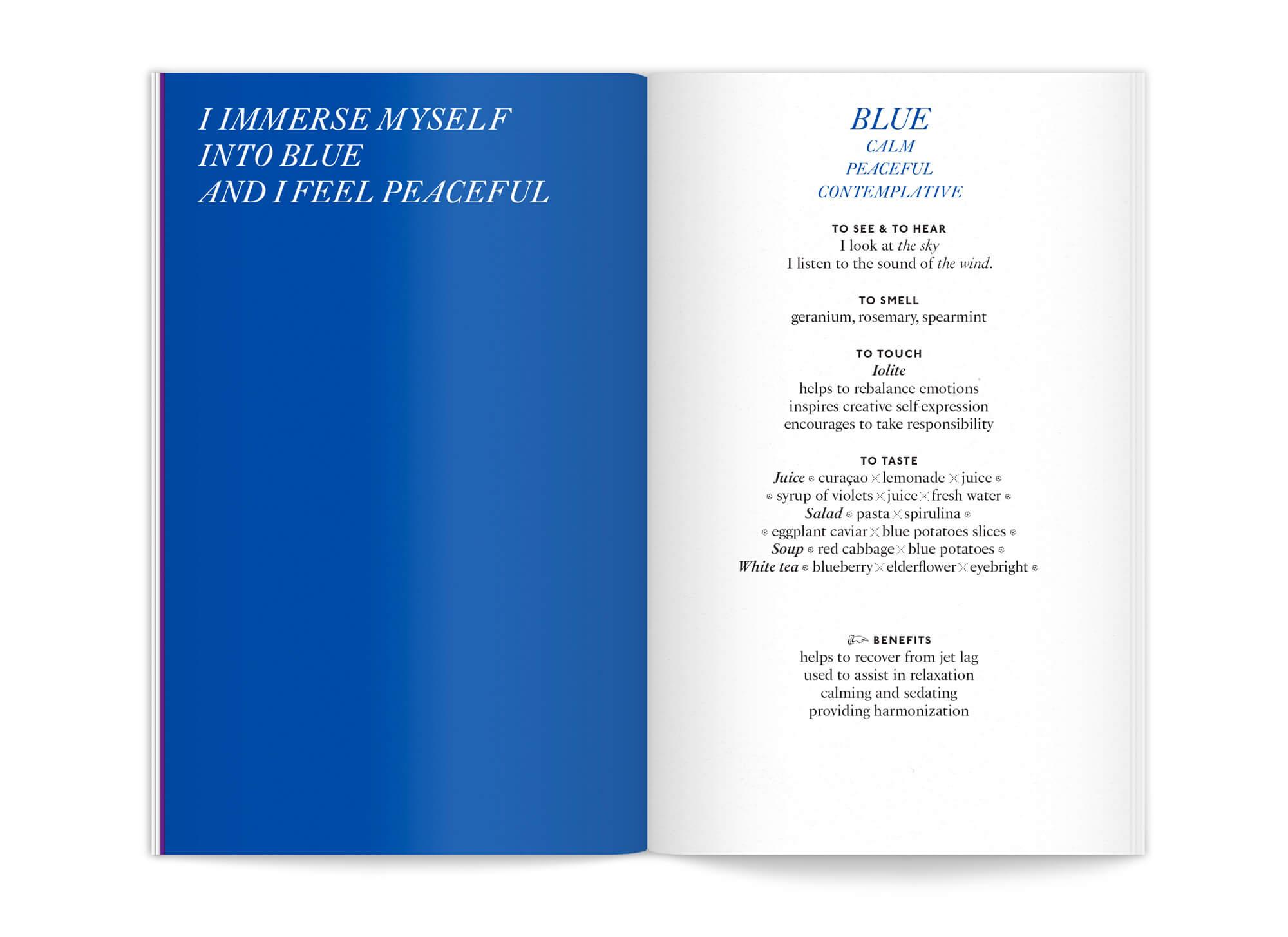 """double page centrale de l'édition """"color benefits"""" pour mycocoon couleur bleue par le studio de graphisme IchetKar"""