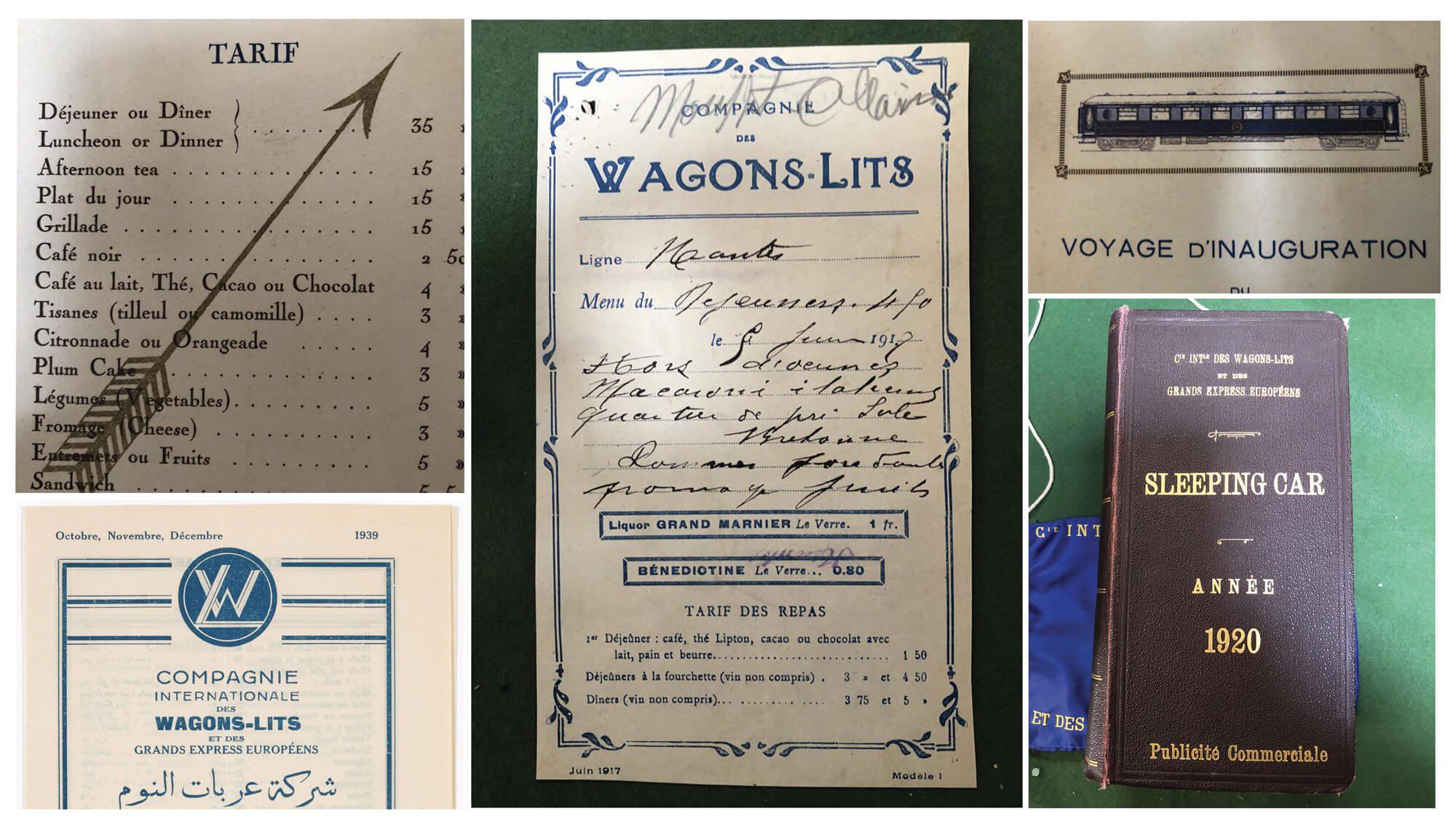 photos des archives (menus, illustrations, brochures d'époques) récoltées par ichetkar pour le projet d'identité de l'orient express