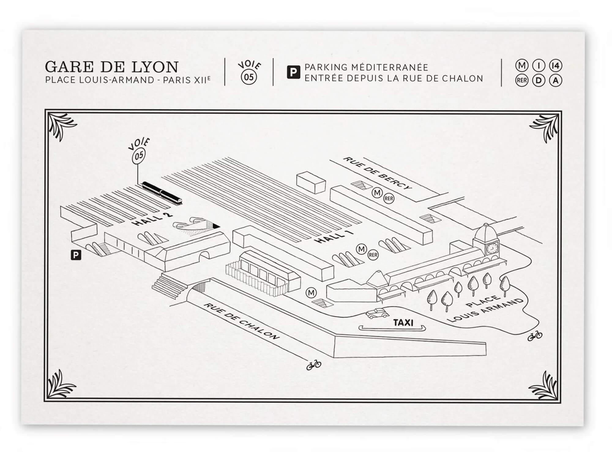 plan de la gare de lyon dessiné en axonométrie par Ich&Kar pour les invitations événementielles de l'orient Express