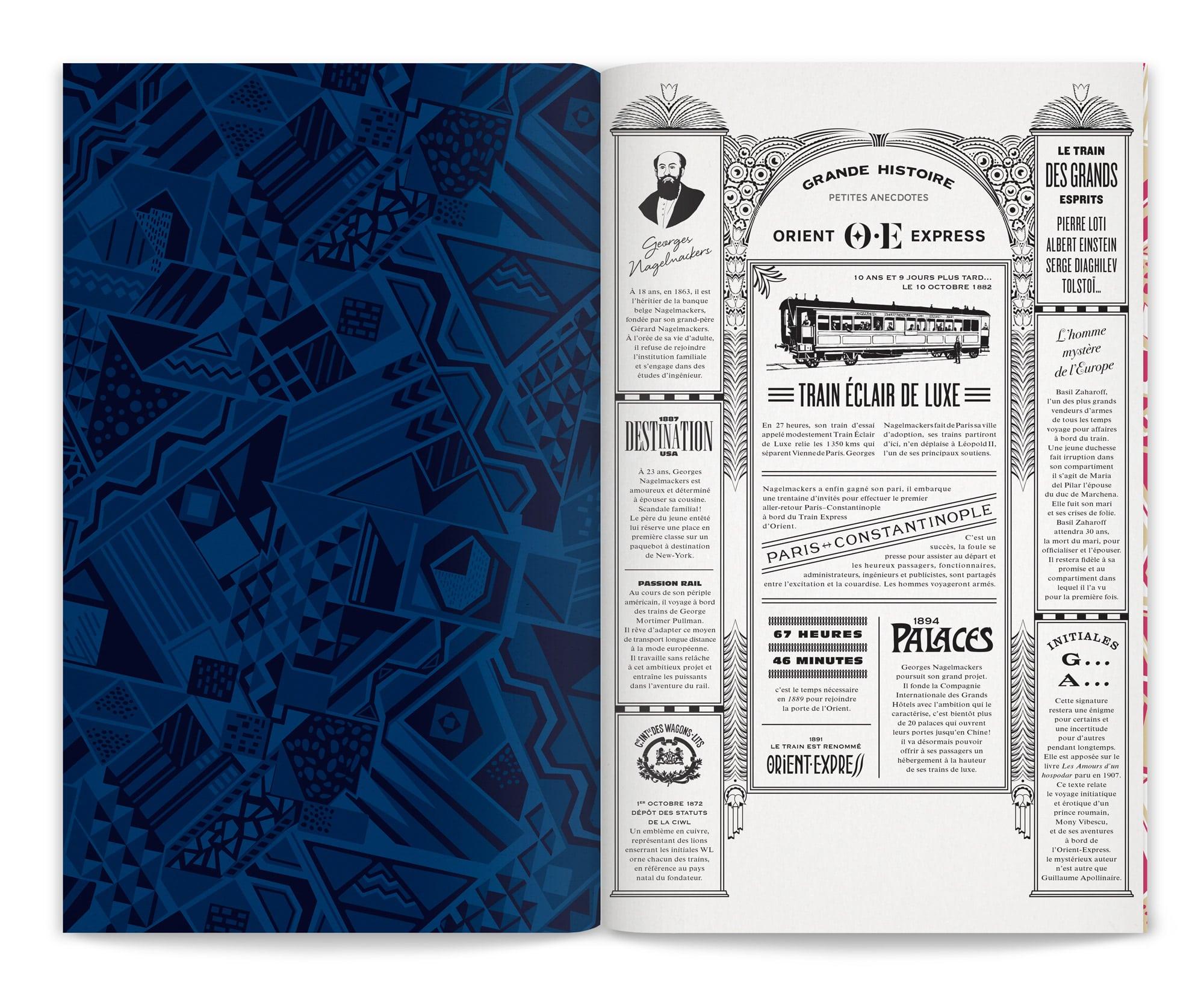 Photographie du menu Orient Express dessiné par lchetKar, sur la page de garde un motif redesigné par le studio de graphisme et en face une double page illustrée des anecdotes du train mythique. un objet de médiation pour la marque