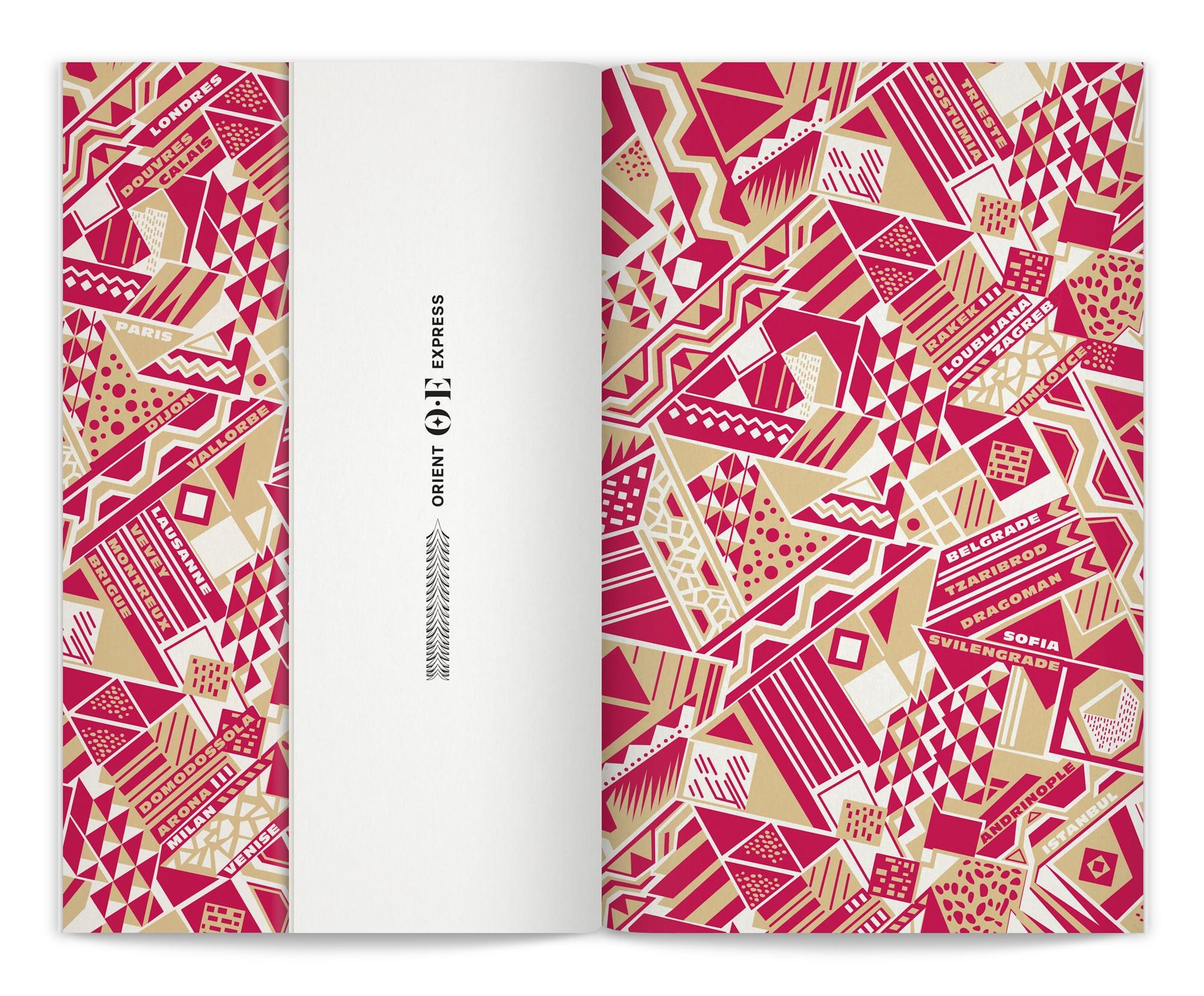 menu Orient Express dessiné par Helena Ichbiah et son équipe de graphiste pour le projet de branding de Orient Express
