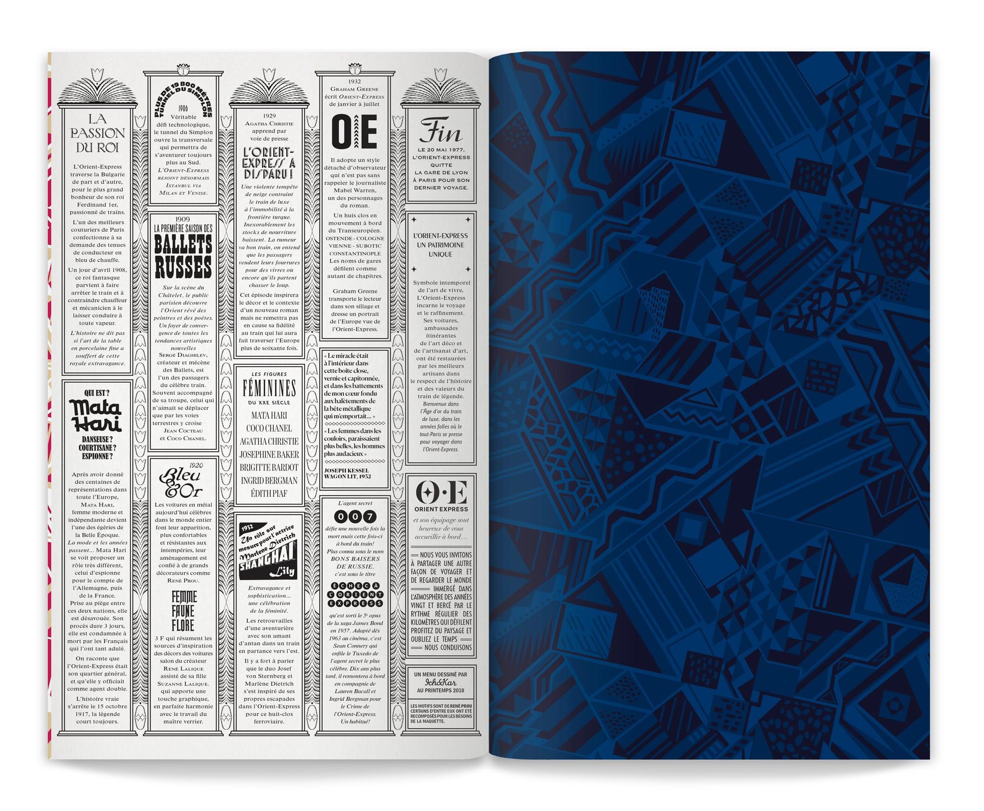 dernière page du menu Orient Express dessiné par ichetkar d'après des ornements années 20 par René Prou - composition typographique et dessin de motif au service d'un branding de marque historique