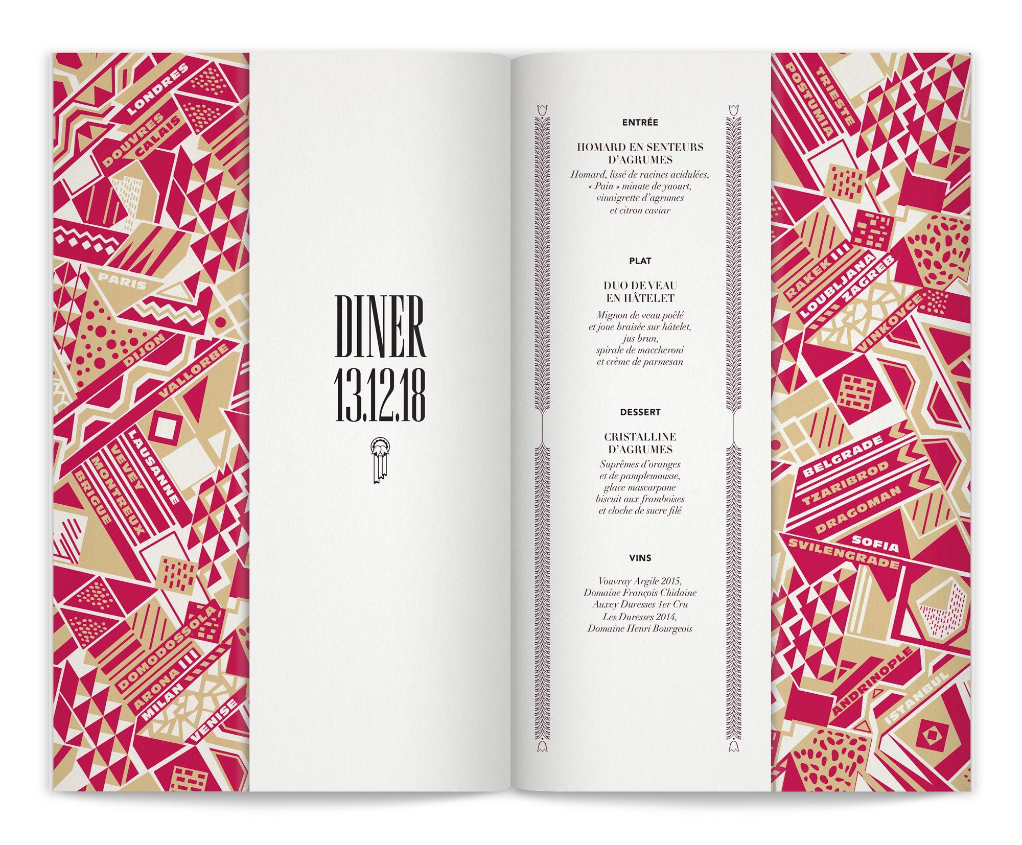 double page intérieure du menu de l'Orient Express, dessinée pour les événements privés de l'Orient Express par le studio Ich&Kar