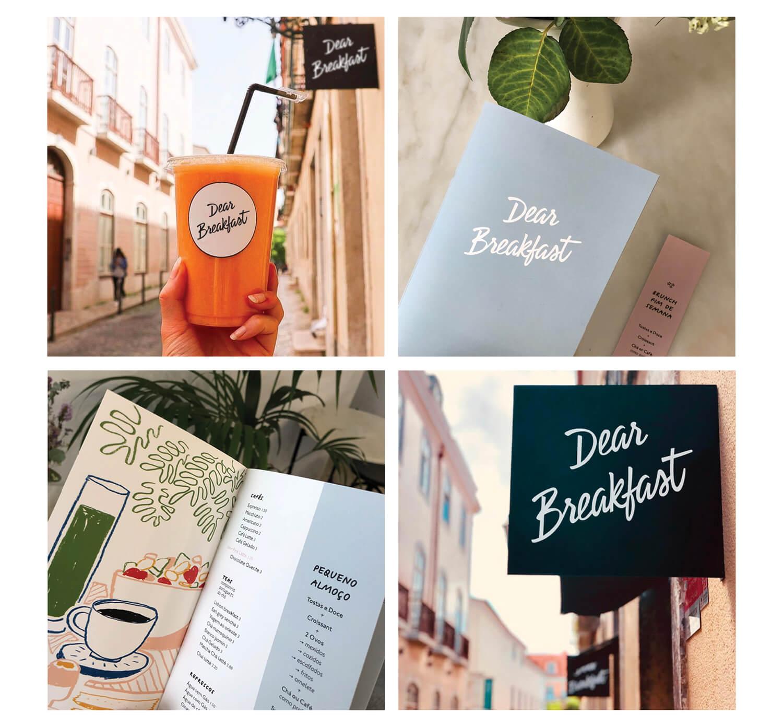 menu et logo en action dans le restaurant dear breakfast à Lisbonne, sur les tables, et la signalétique partout le travail d'ichetkar