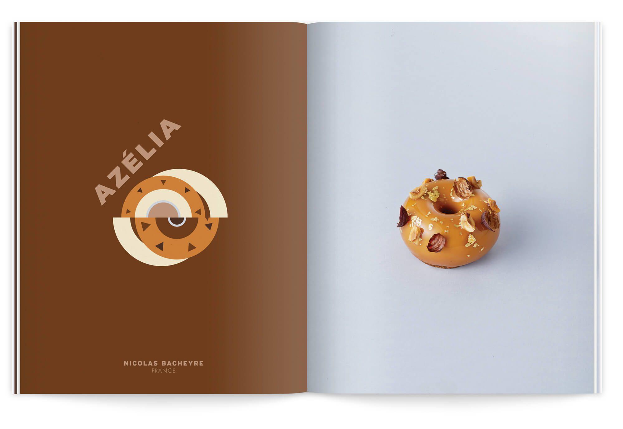 double page de la nouvelle édition la crème de la crème dans des teintes chocolat, Ich&Kar illustre le gâteau azélia de nicolas bacheyre