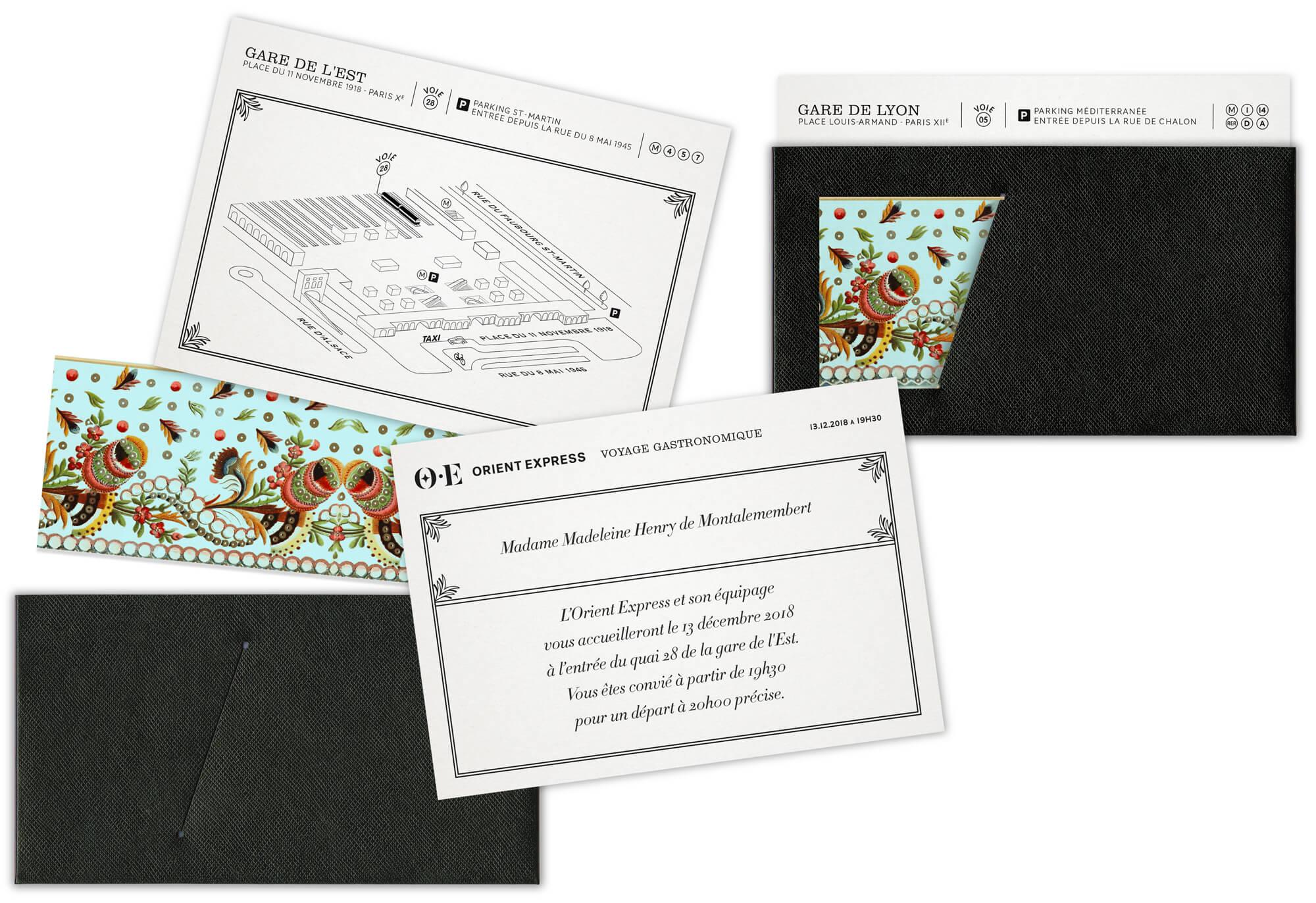invitations dessinées par Helena Ichbiah et le studio Ich&Kar pour l'orient Express