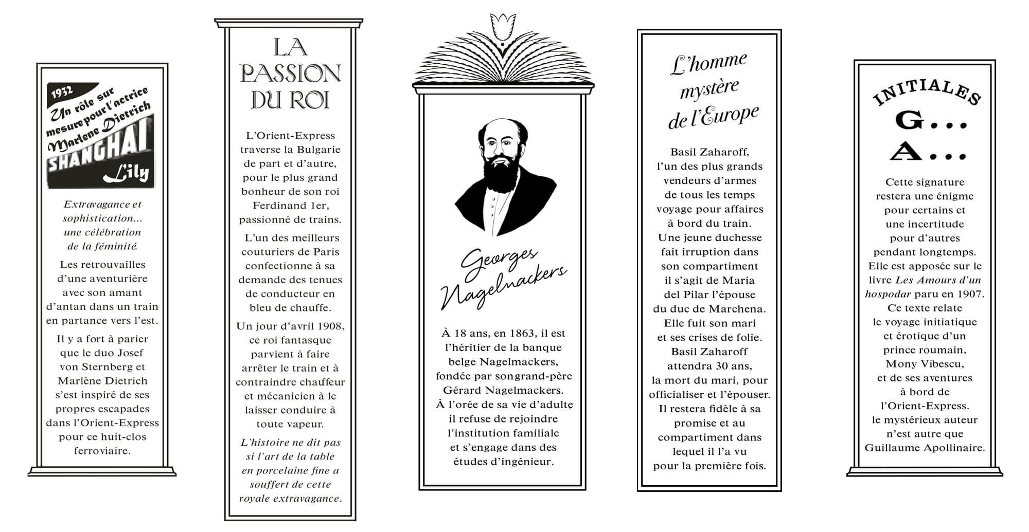 détails graphiques du menu dessiné par le studio, racontant l'histoire de l'orient express. dans le cadre du projet d'identité de l'orient express imaginée par Ich&Kar pour les privatisations du train