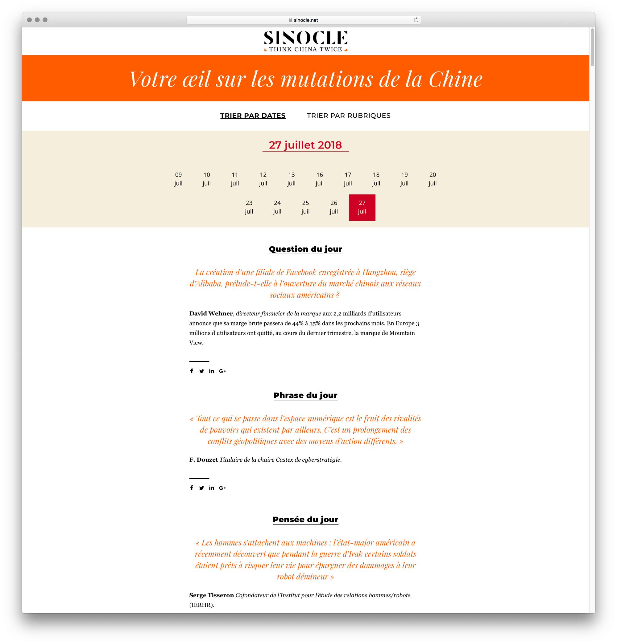 visuel d'une page de newsletter dans les archives du média Sinocle, tourné vers la chine designé par Ich&Kar et développé par Charlie Bayot.