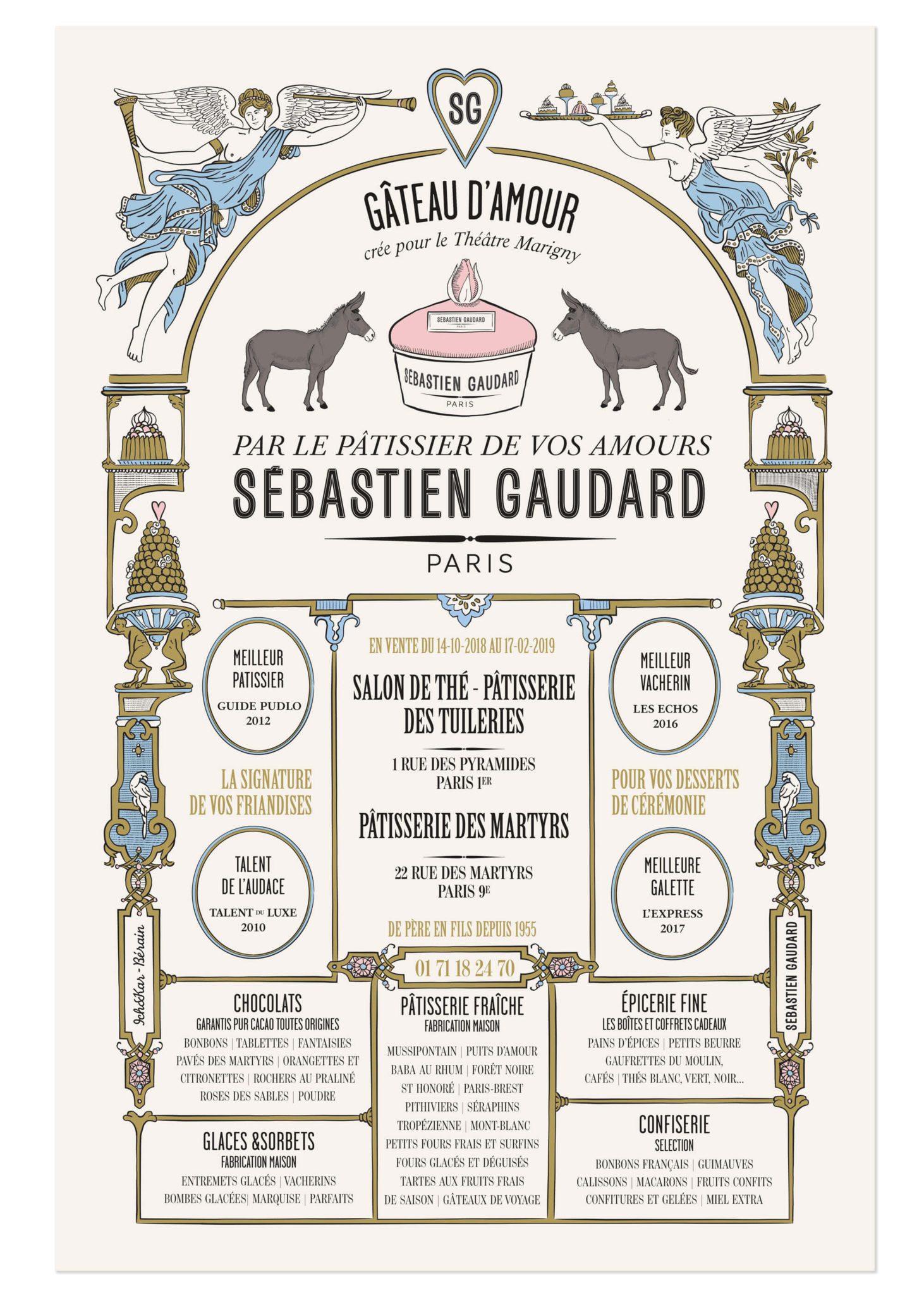 affiche sébastien gaudard dessinée par le studio Ich&Kar pour la collaboration du pâtissier avec le théâtre marigny