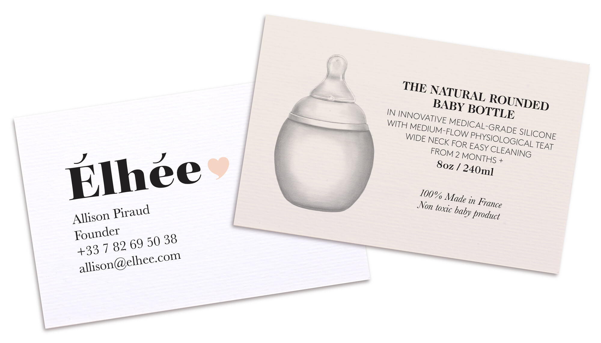 cartes de visites de la marque Élhée pour le Bibrond nature par le studio Ich&Kar