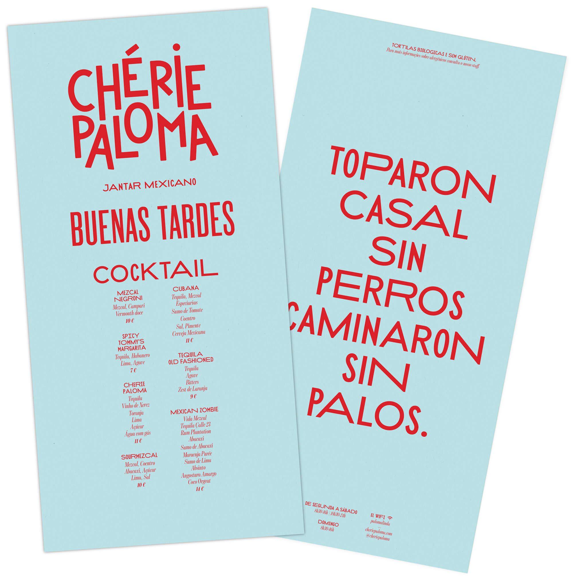 menu esthétique mexicaine par le studio de graphisme Ichetkar pour le restaurant Chérie Paloma à Lisbonne ouvert par Julien Garrec papier bleu azur et typographie rouge