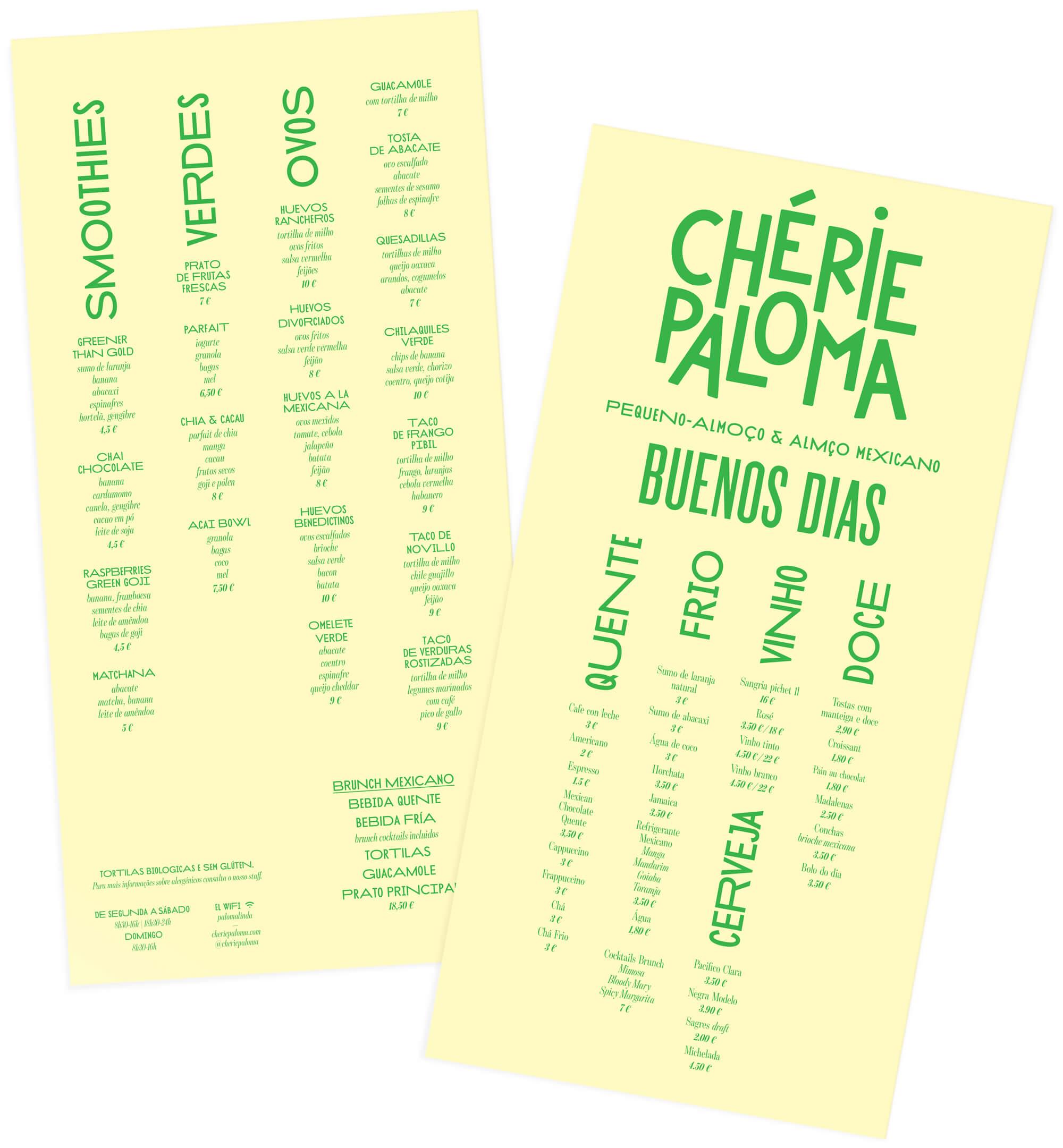 menu sur papier jaune et imprimé en vert cactus par Ich&Kar pour le restaurant portuguais Chérie Paloma