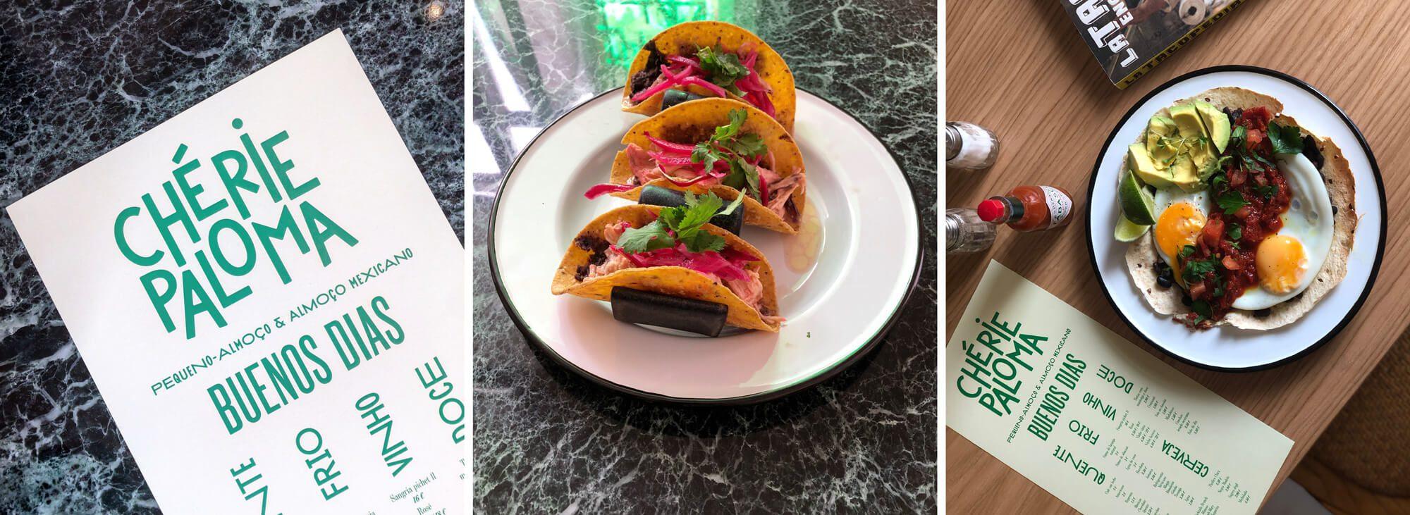 trois images du menu dessiné par ichetkar et des plats du resto Mexicain Chérie Paloma