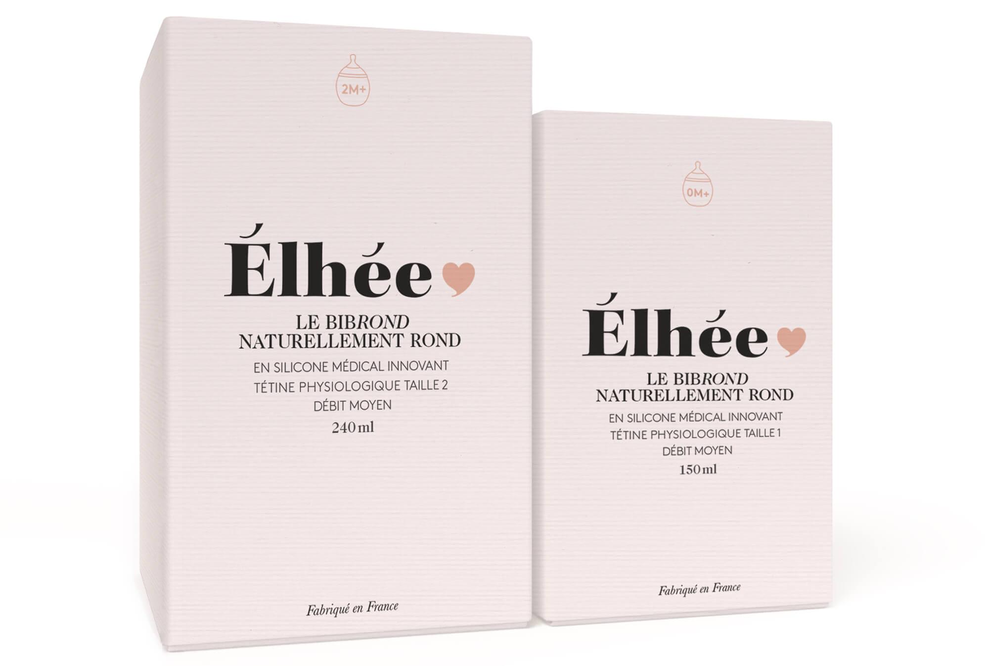 Packaging dessiné par le studio Ich&kar pour la marque Élhée et son nouveau biberon