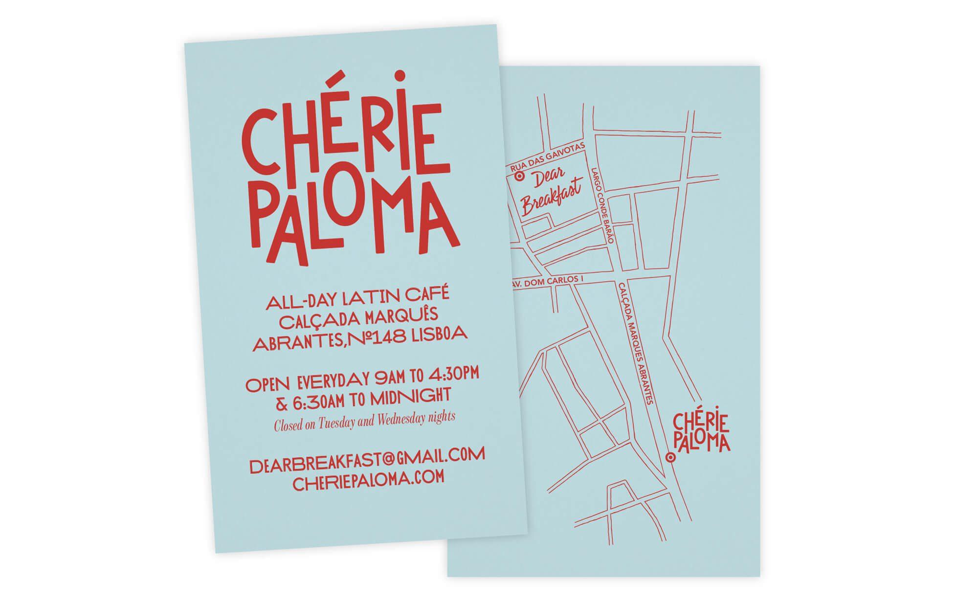carte de visite à l'esthétique mexicaine du restaurant Chérie Paloma a Lisbonne design Ich&Kar