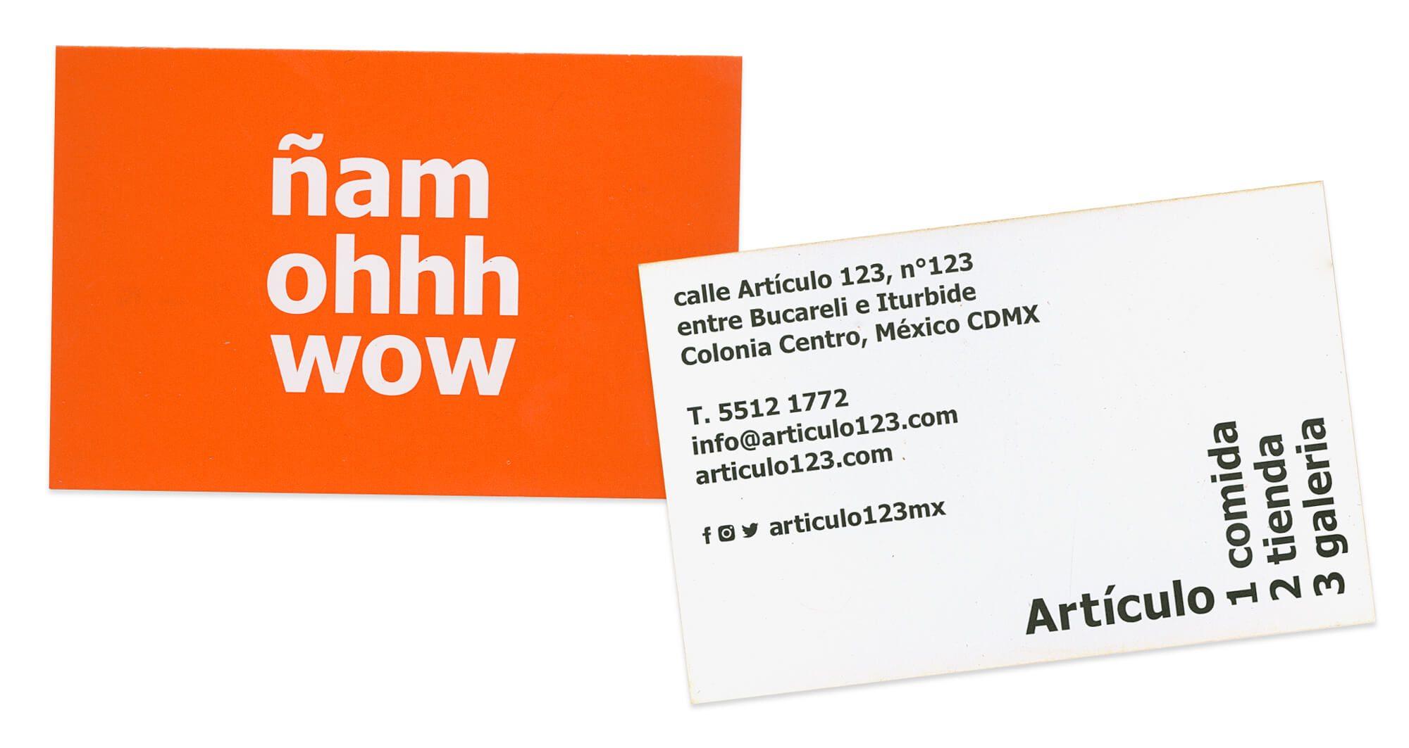 cartes de visites orange tangerine de la galeria articulo 123 mexico, identité dessinée par Helena Ichbiah et son équipe Ich&Kar
