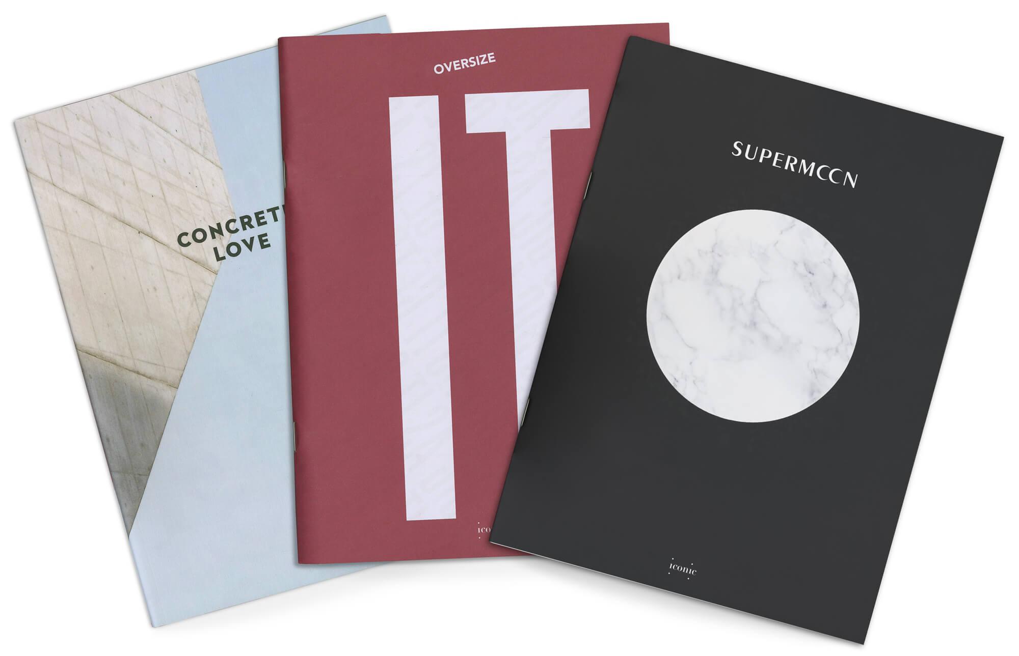 ichetkar dessine la maquette du magazine de design designerbox, les trois premiers numéros disposés en eventail montent les couvertures illustrées