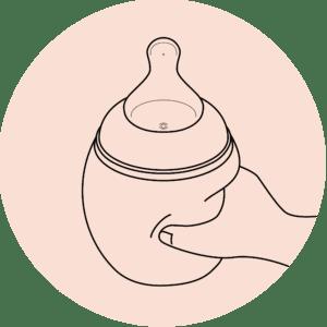 illustration de la souplesse du biberon dans la fiche produit du eshop élhée