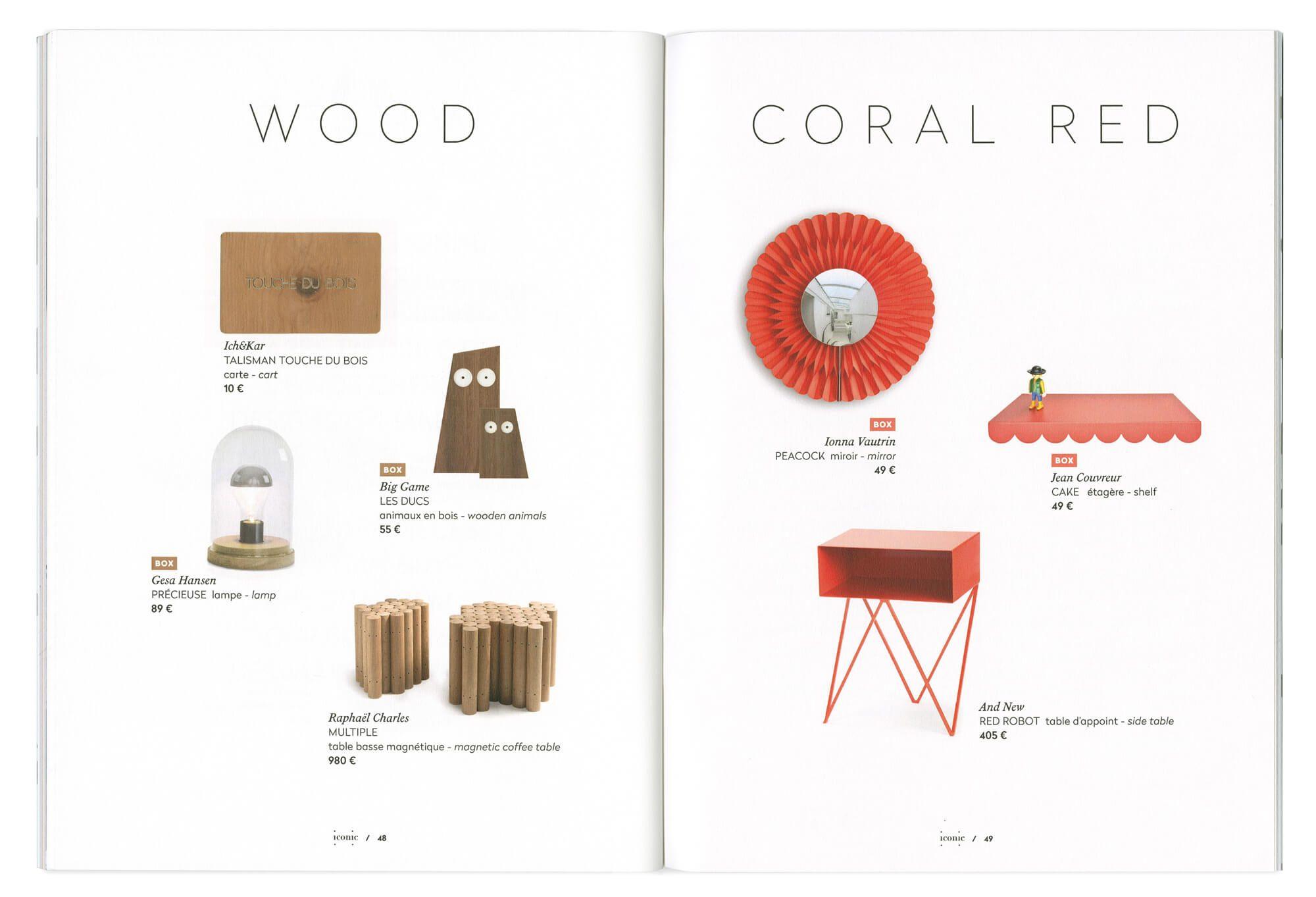 double page de maquette dessinée pour designerbox mettant en scène des objets de design autour de thématiques