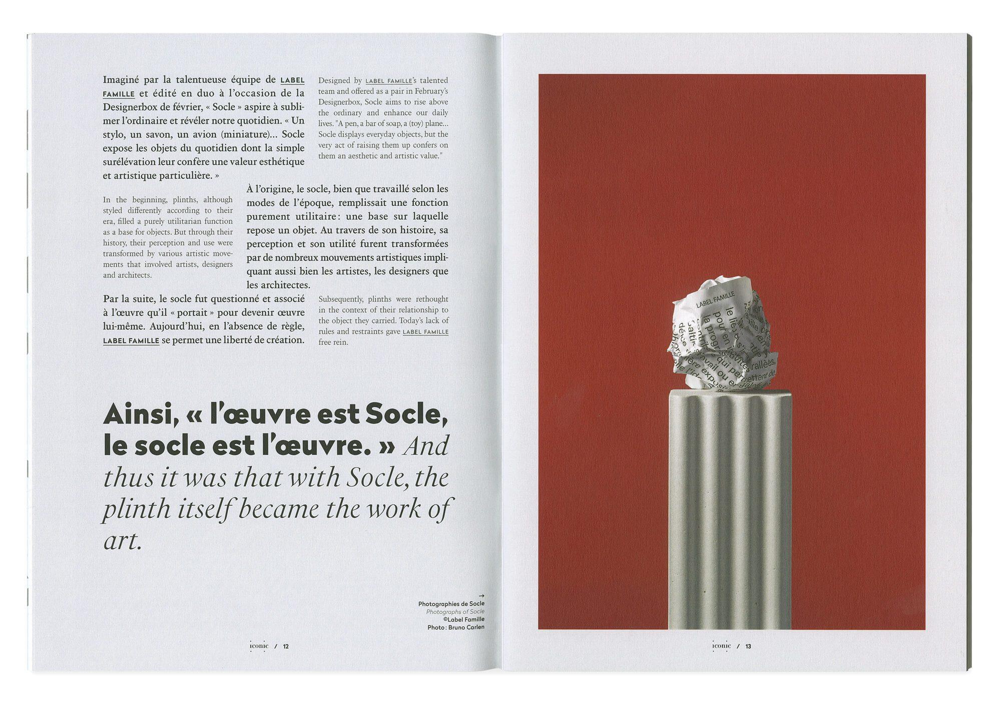 double page du magazine iconic sur l'objet socle par les designer label famille, mise en page ich&kar pour designerbox