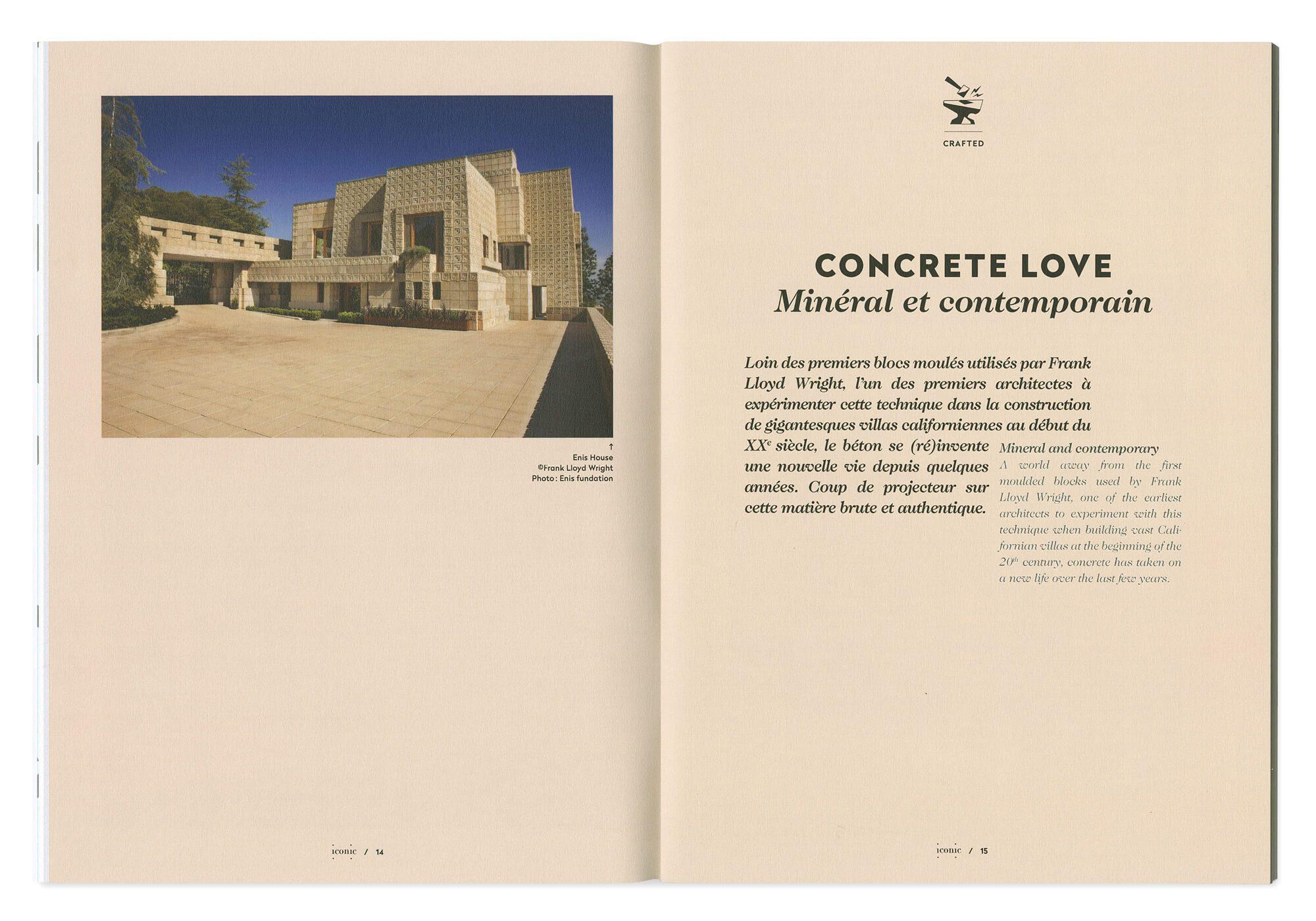 double page de magazine dessinée par ichetkar pour la maquette du magazine de design Iconic