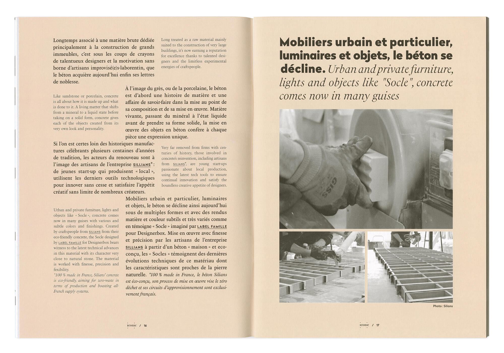 une maquette bilingue anglais et français, originale et structurée, pour le magazine mensuel iconic