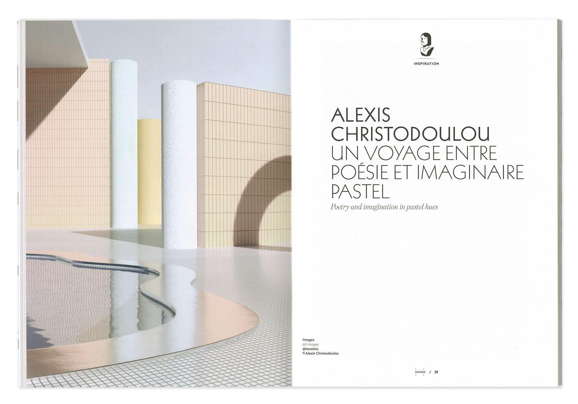 double page photo et texte, une ouverture d'article sur alexis christodoulou, dans des teintes pastels. maquette par Ich&Kar