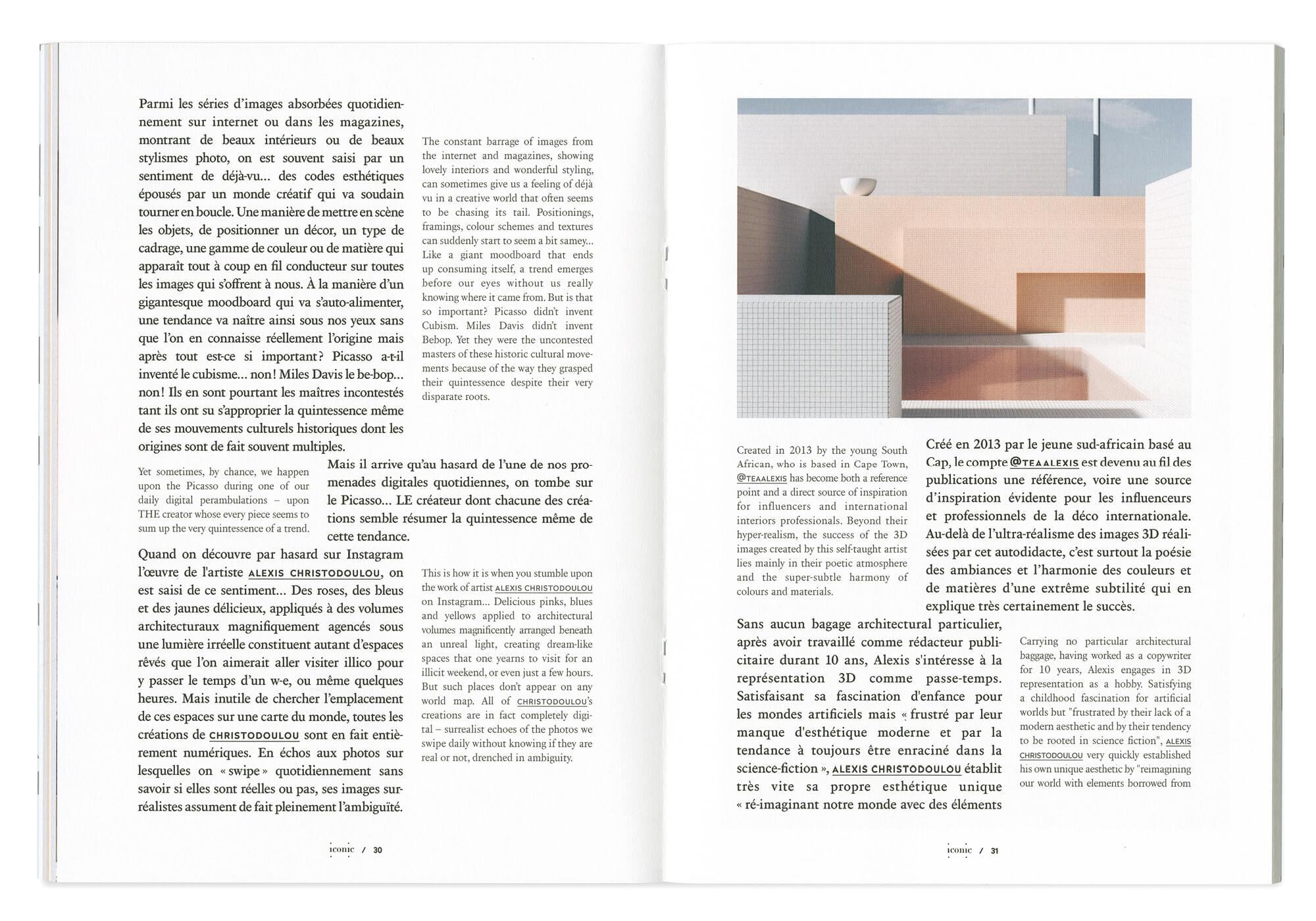 double page d'article du magazine, design éditorial et maquette dessinée par le studio ichetkar