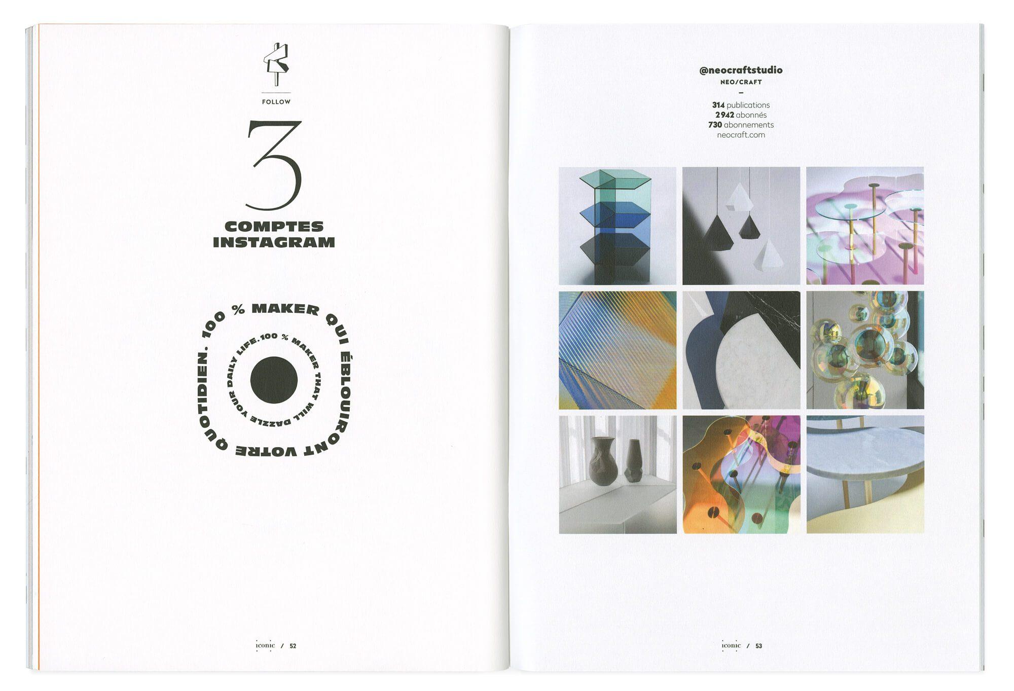double page composée présentant le compte instagram neocraftstudio, et caligramme. design editorial par le studio ich&Kar