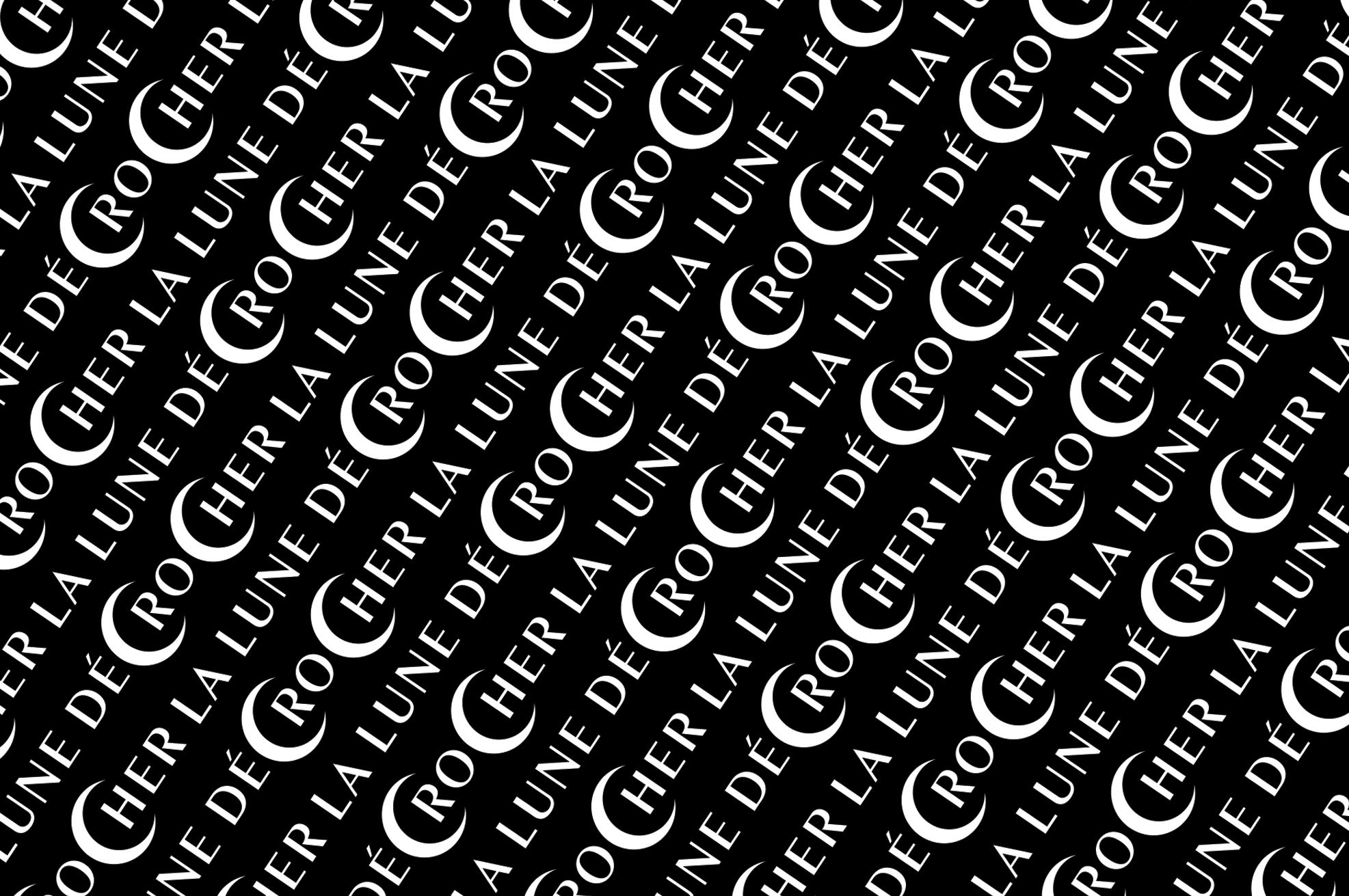 """motif typographique dessiné par le studio ichetkar en noir et blanc reprenant l'expression """"décrocher la lune"""""""
