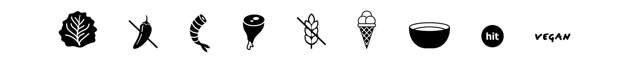 collections de pictogrammes sur mesure, pour le restaurant-boutique Articulo 123, dessinés pour l'identité de la marque et les menus par Ich&Kar