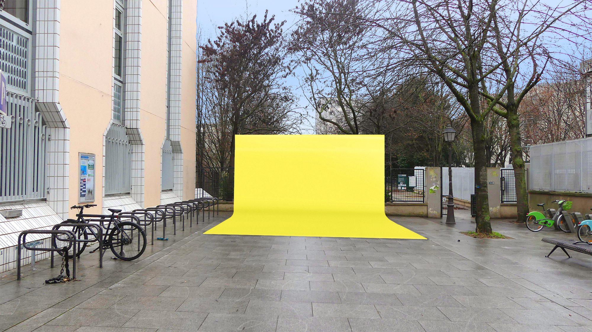 fond d'incrustation vidéo jaune mis en scene place carmen dans le cadre du projet embellir paris