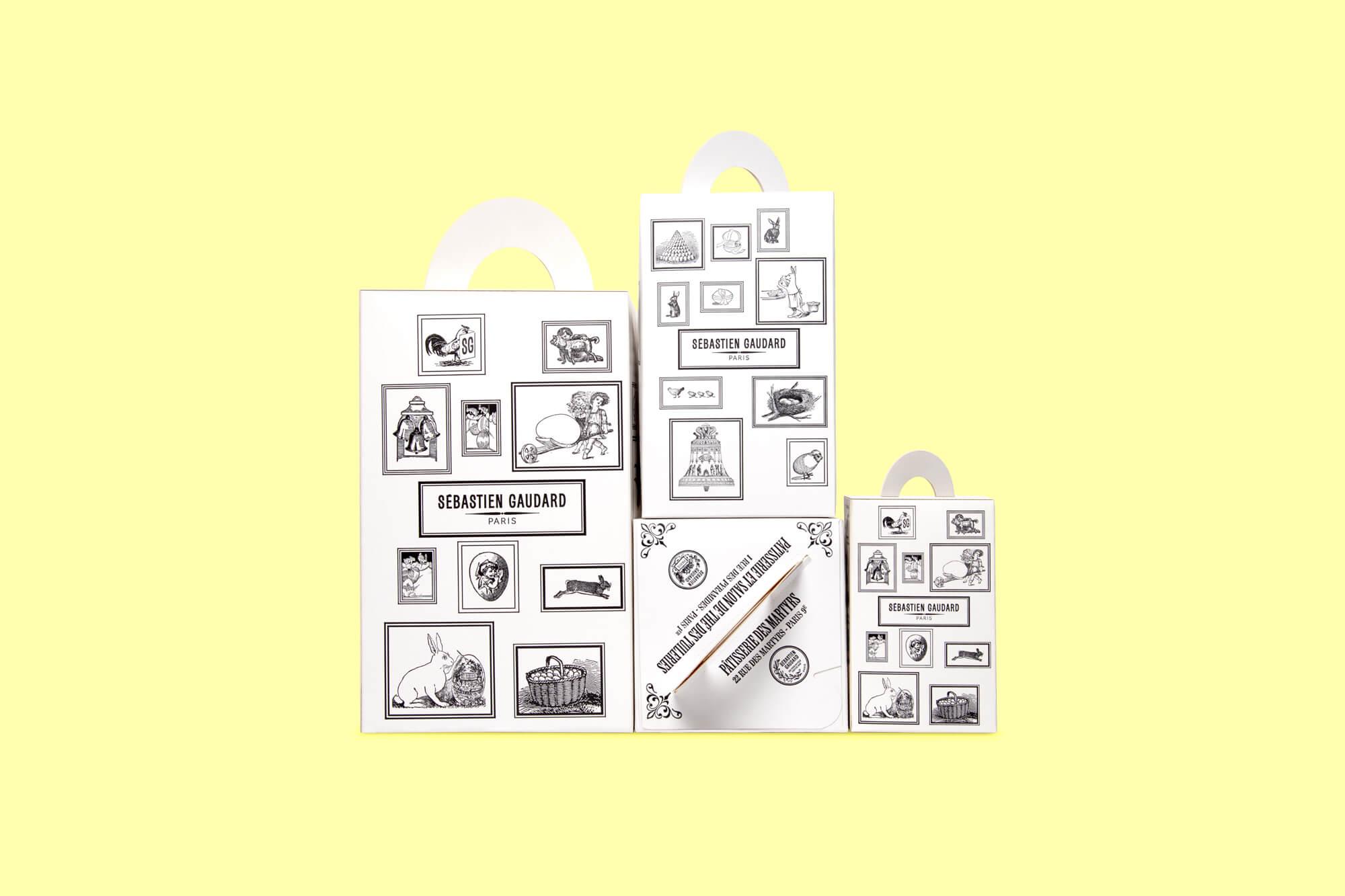 collection de boîtes pliantes dessinées pour la patisserie Sébastien Gaudard, illustrées de gravures anciennes par le studio IchetKar