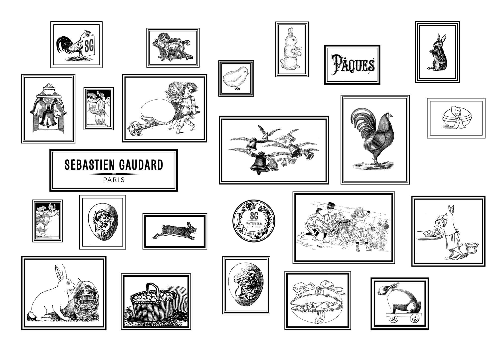 motif en noir et blanc dessiné par Ich&Kar a partir de gravures anciennes de coqs, poussins, lapins pour le thème de pâques à la patisserie Sebastien gaudard