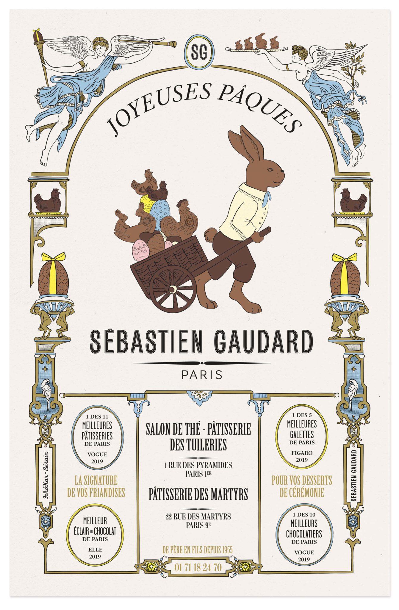 affiche illustrée reprenant un style vintage pour le patissier sébatien gaudard, réalisé par le studio Ich&kar pour les fêtes de pâques 2019