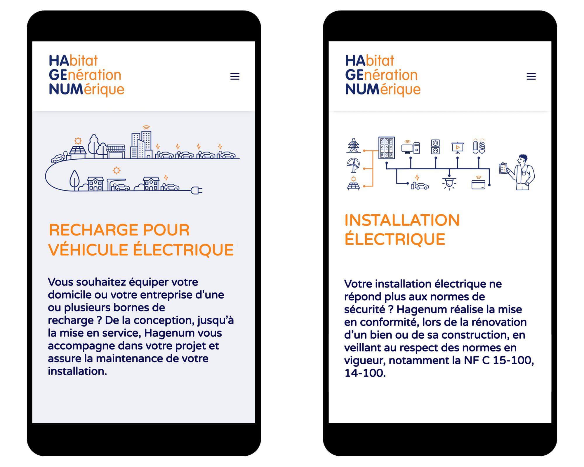 deux écrans de téléphone montrant le site web dessiné par helena ichbiah et son équipe pour les éléctriciens Hagenum, des illustrations et des pictogrammes minimalistes expliquent les activités
