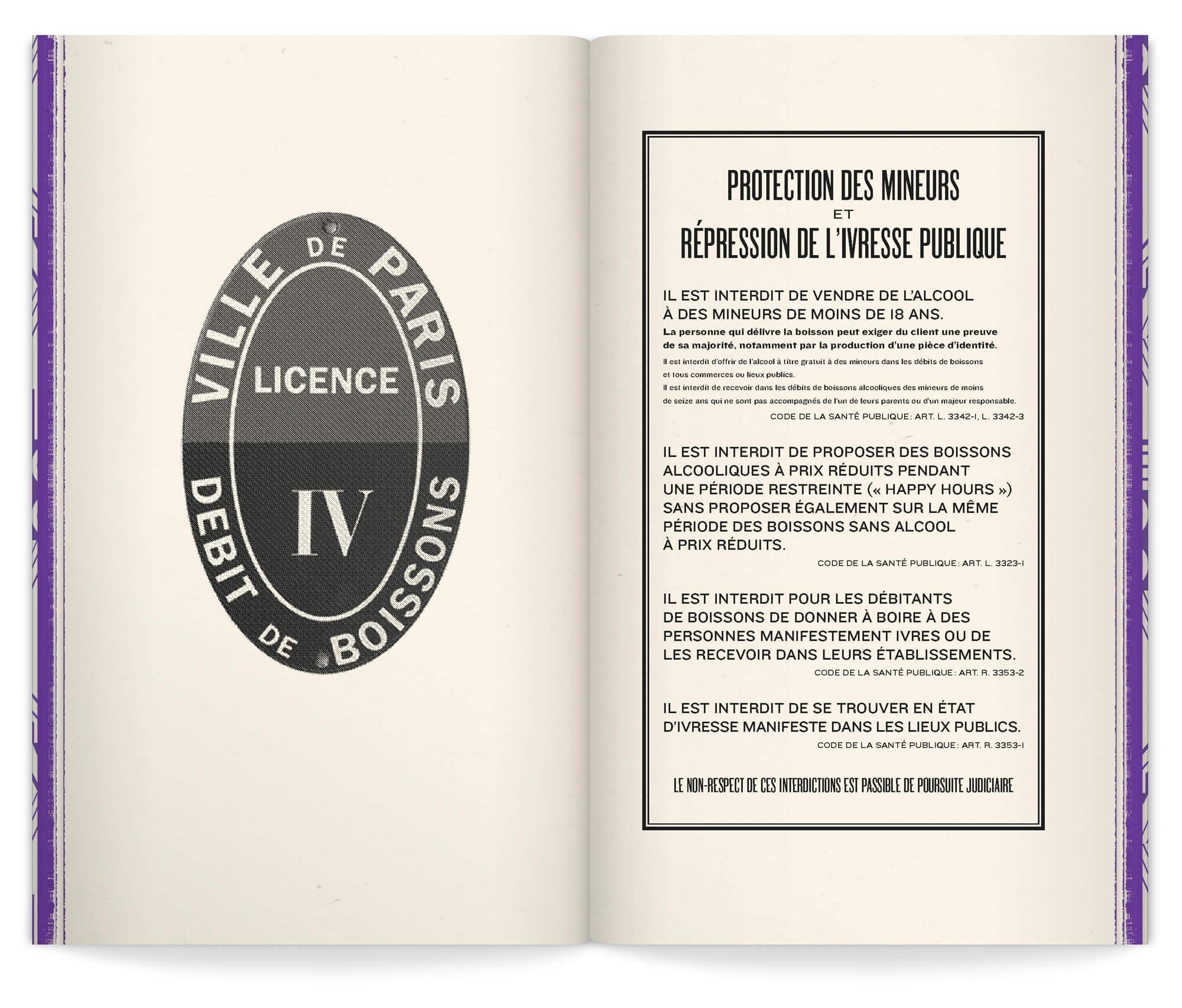 intérieur de la carte-livre menu du bar parisien Andy Wahloo, un livre aux allure de roman de gare, vintage, dans une ambiance retro alcolisée pensé par le studio Ich&Kar