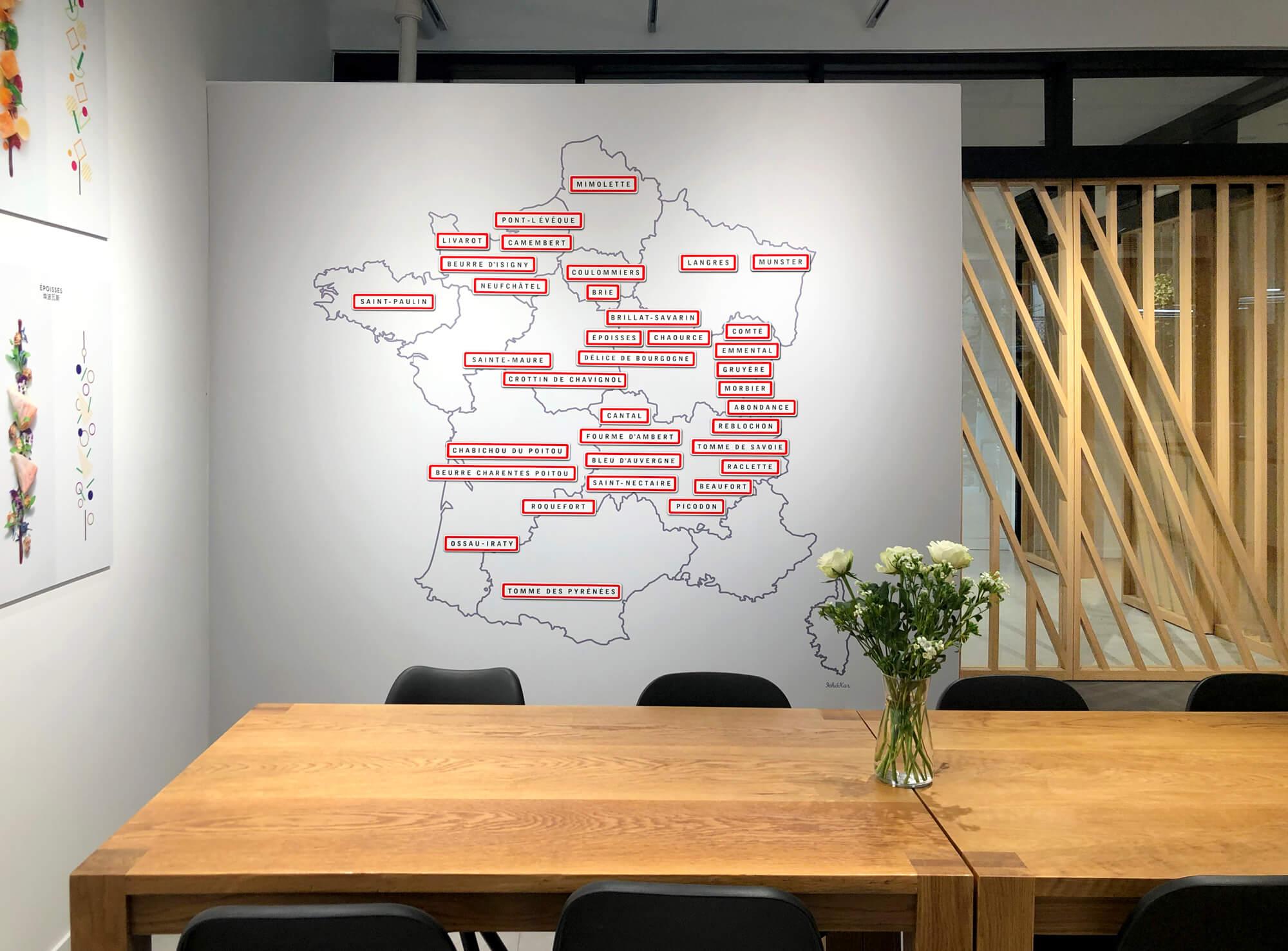 Carte de France des fromages magnétique. Photocall pédagogique par IchetKar