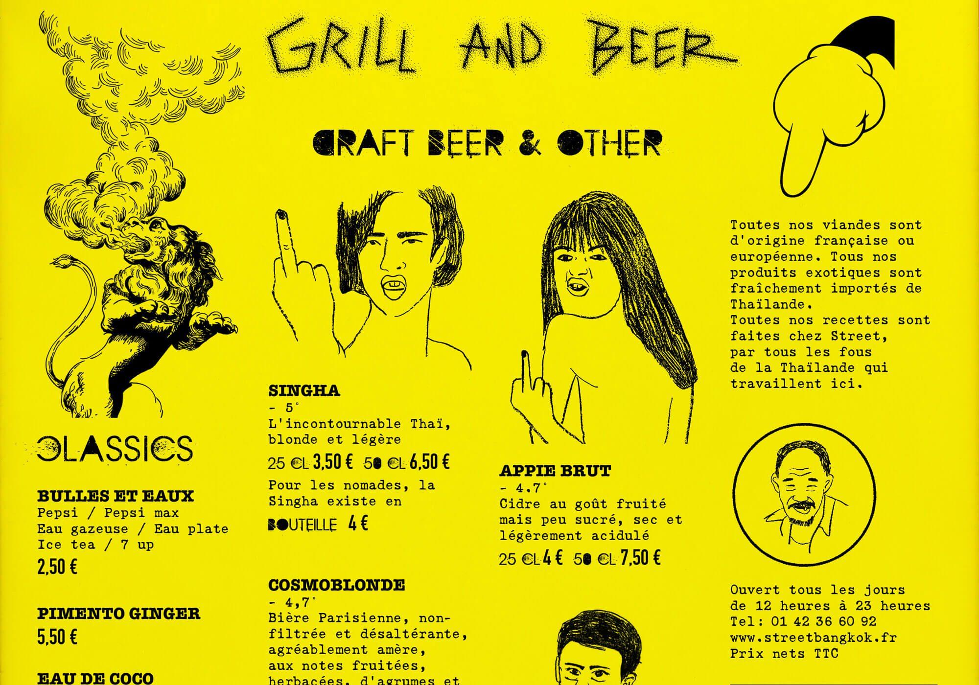 détail du menu de street bangkok par le studio de graphisme ichetkar. Un choix de typo punk rock pour la chaine de restaurant thaï design par IchetKar