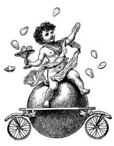 ange en gravure ancienne sur boule roulante entouré de madeleines, une illustration du studio ich&Kar pour les entrepreneurs de la madeleine volante