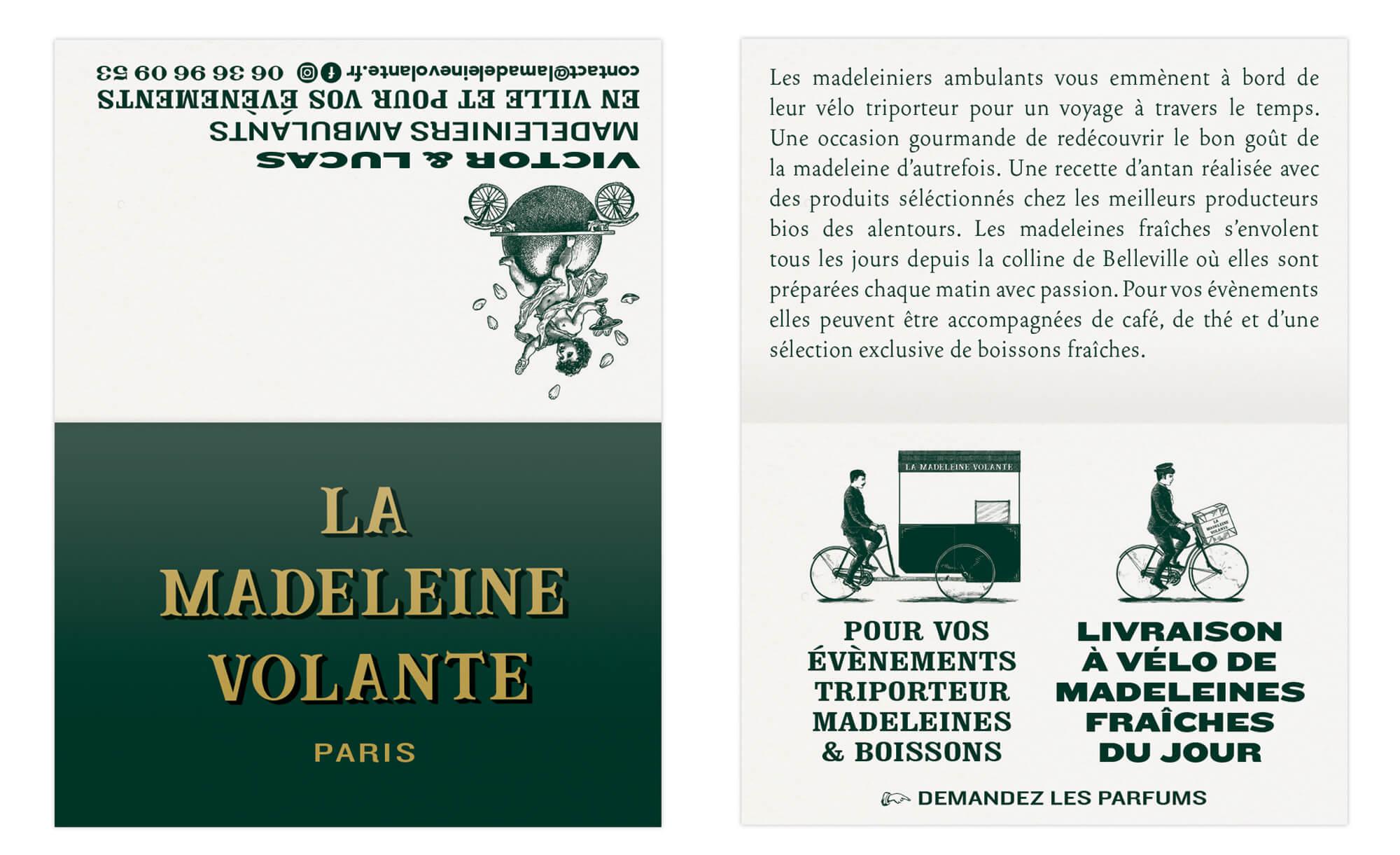 cartes de visites dépliantes de la start-up la madeleine volante dans des teintes vertes et or vintage