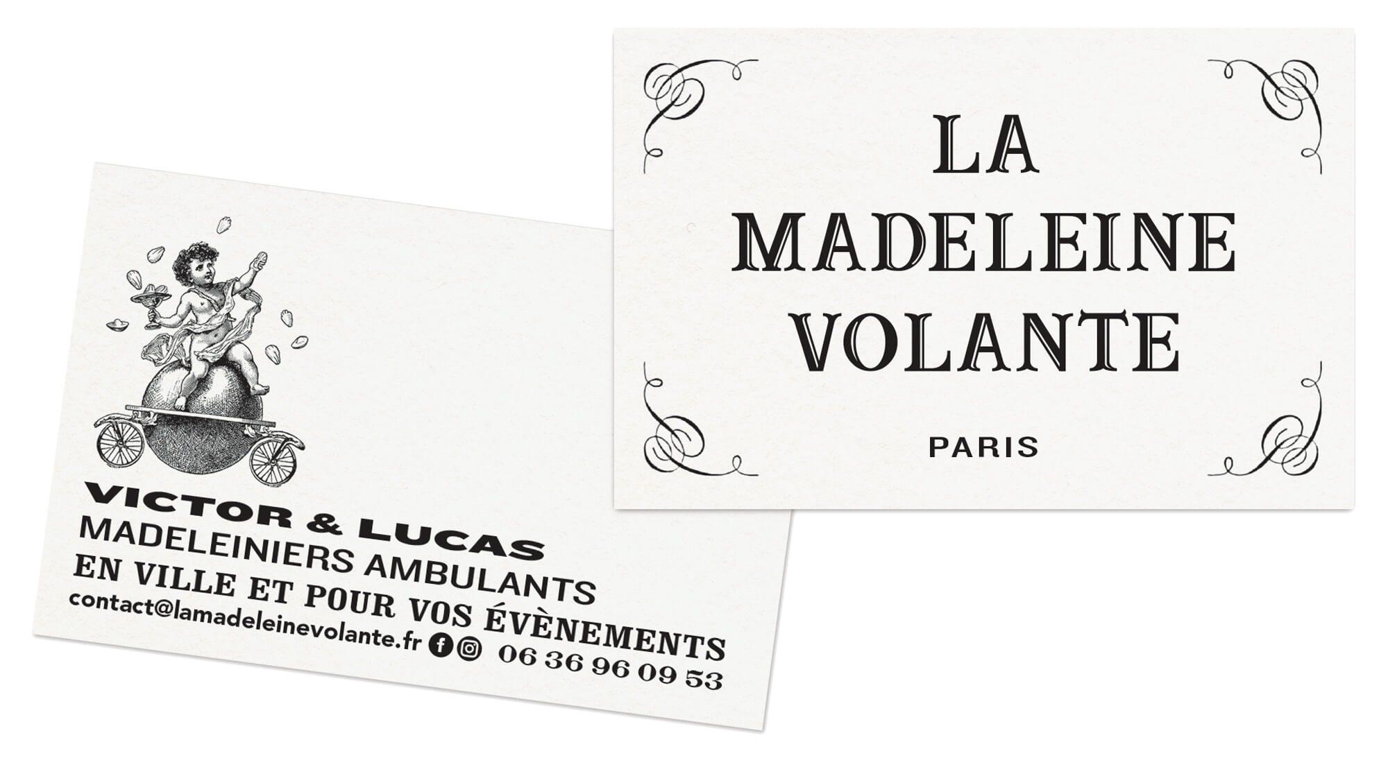 cartes de visites de la madeleine volante, typographie vintage et gravure pour la start up parisienne