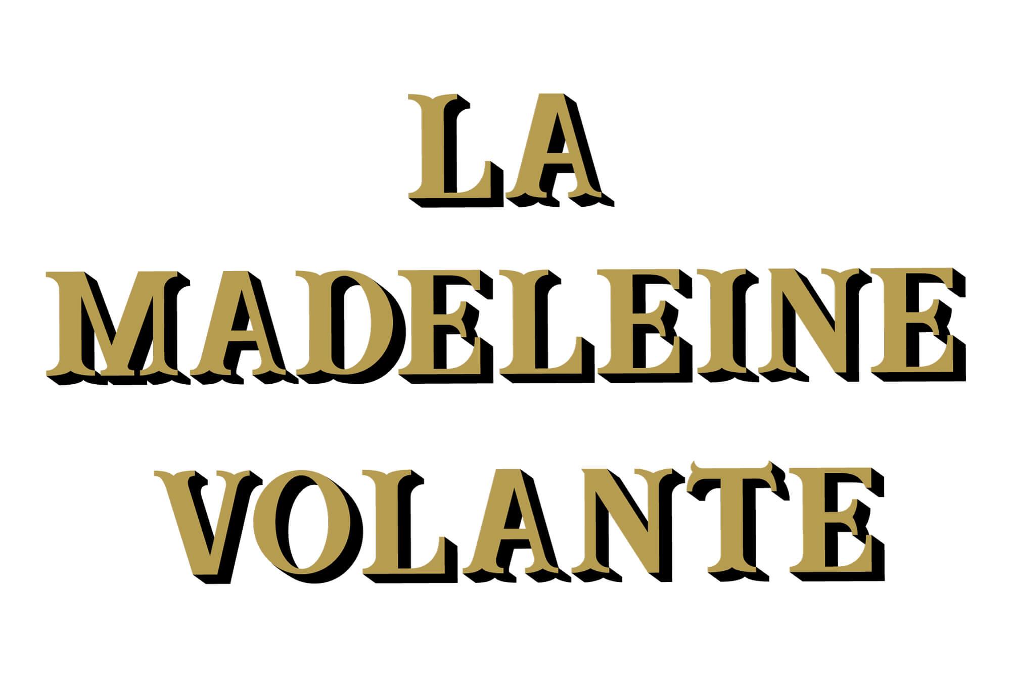 Le logo de la start up La madeleine volante, typographie vintage et dorure, design IchetKar