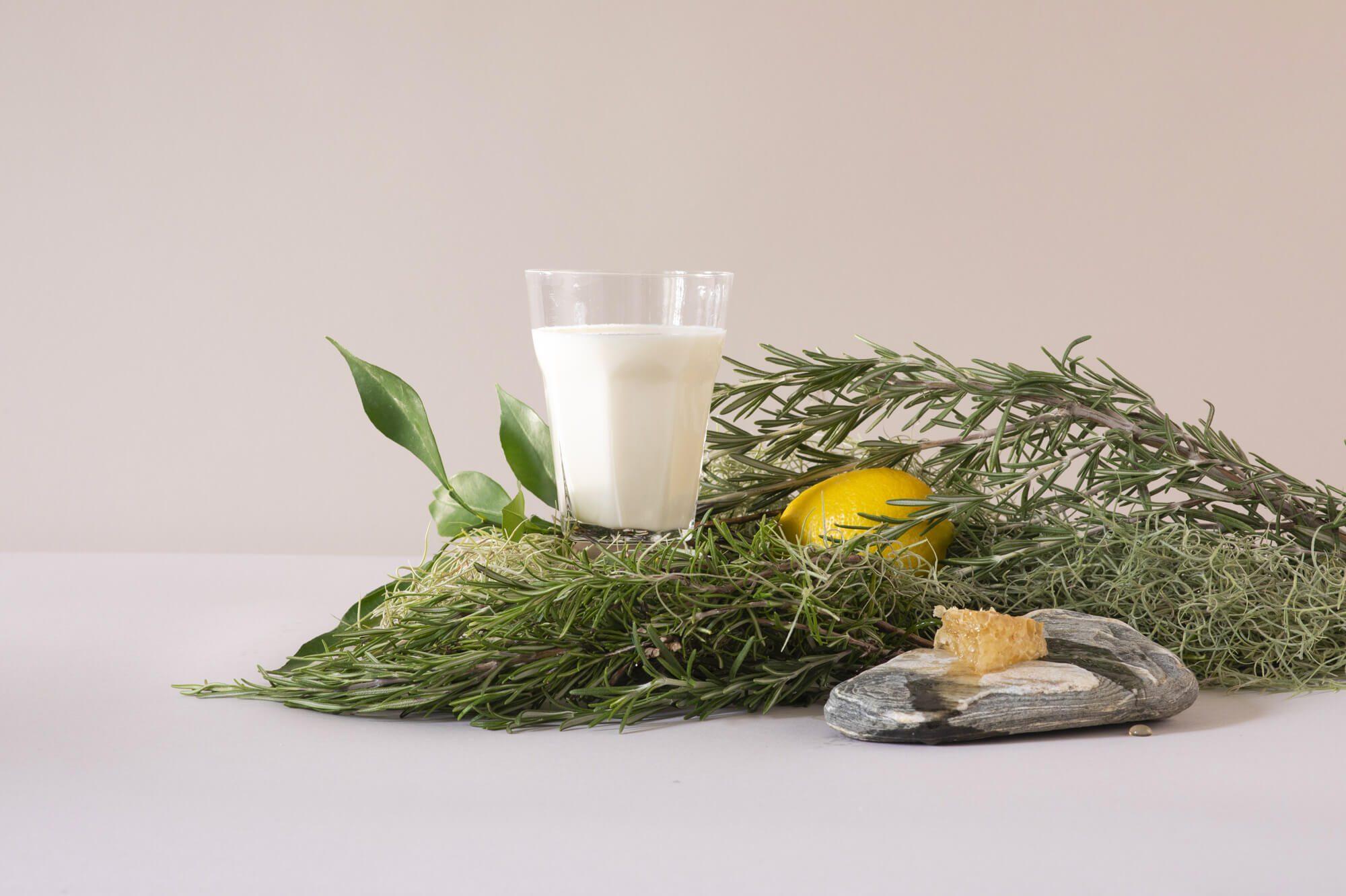 photographie de Virginie Perocheau pour le studio de création IchetKar, représentant un lait infusé au romarin, recette détox mise en valeur dans cette série pour la milkfactory