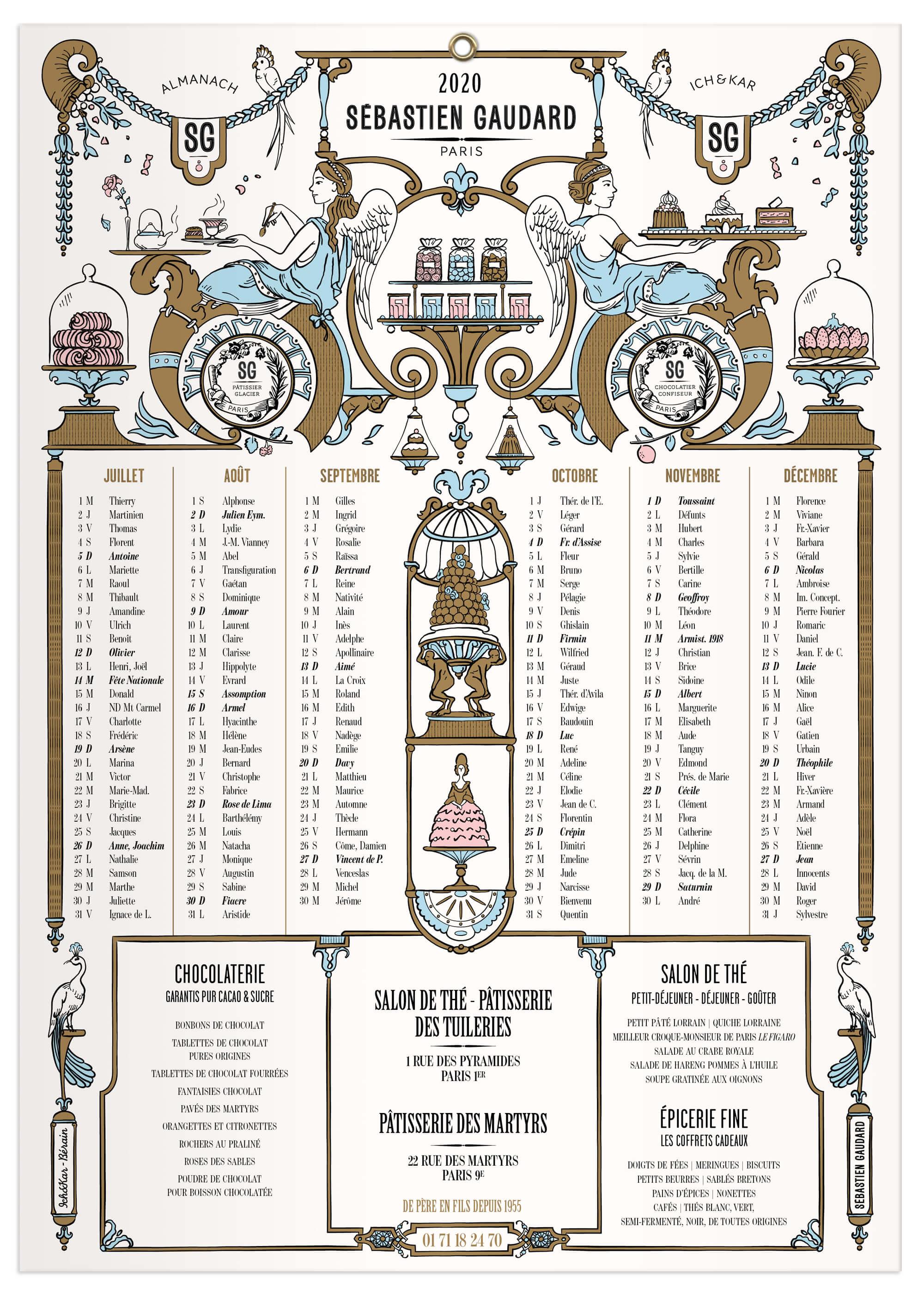 Pour l'almanach 2020 ichetkar dessine un décor pâtissier les  victoires prennent le thé dans une structure inspiré du décorateur Bérain